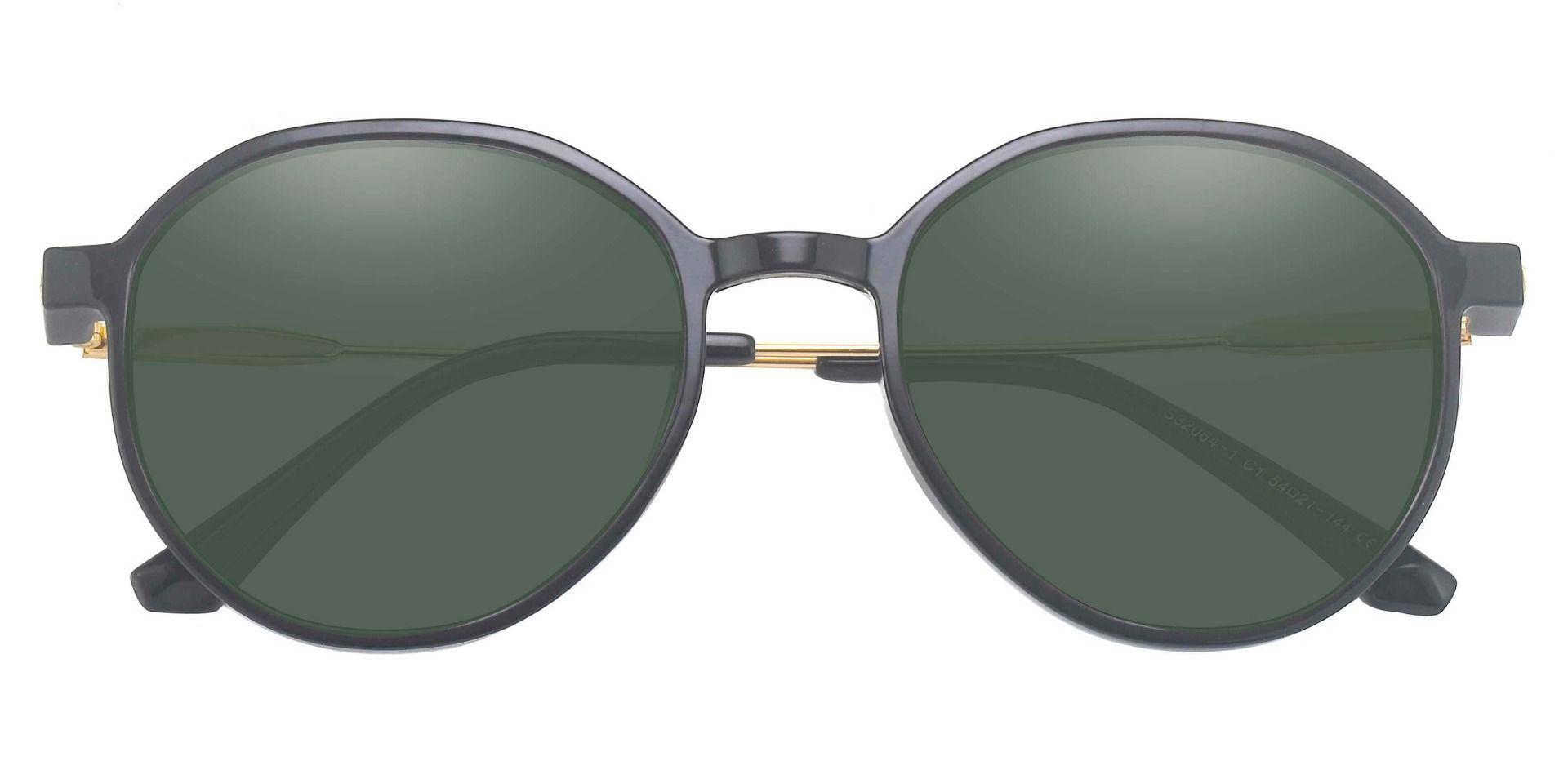 Daytona Geometric Prescription Sunglasses - Black Frame With Green Lenses