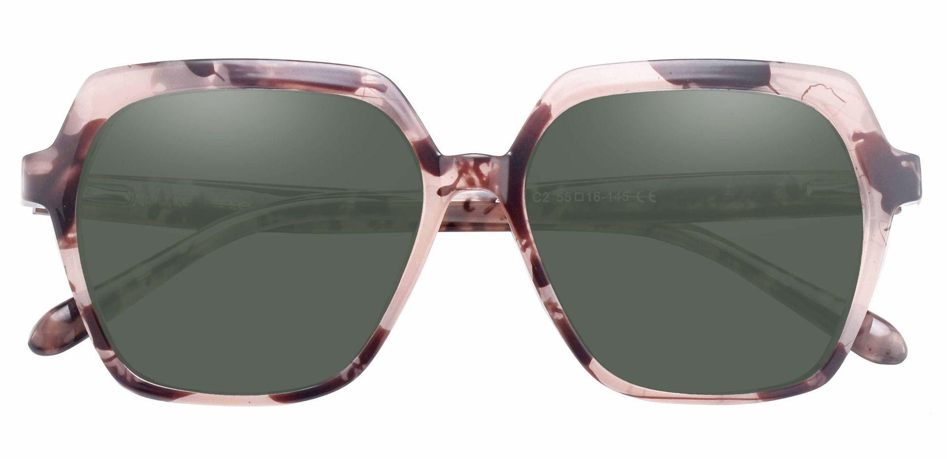 Regent Geometric Prescription Sunglasses - Tortoise Frame With Green Lenses