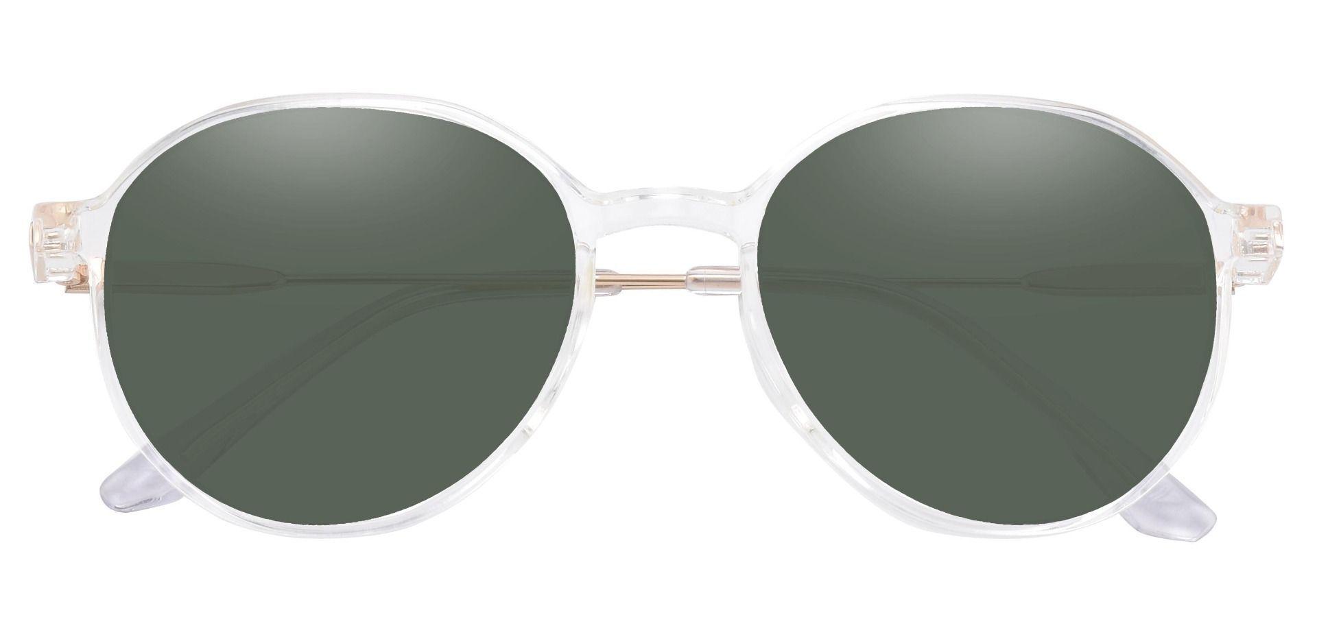 Daytona Geometric Progressive Sunglasses - Clear Frame With Green Lenses