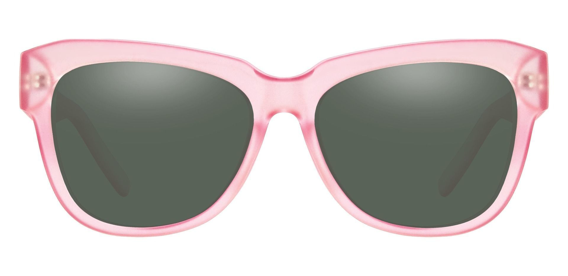 Gina Cat-Eye Reading Sunglasses - Pink Frame With Green Lenses