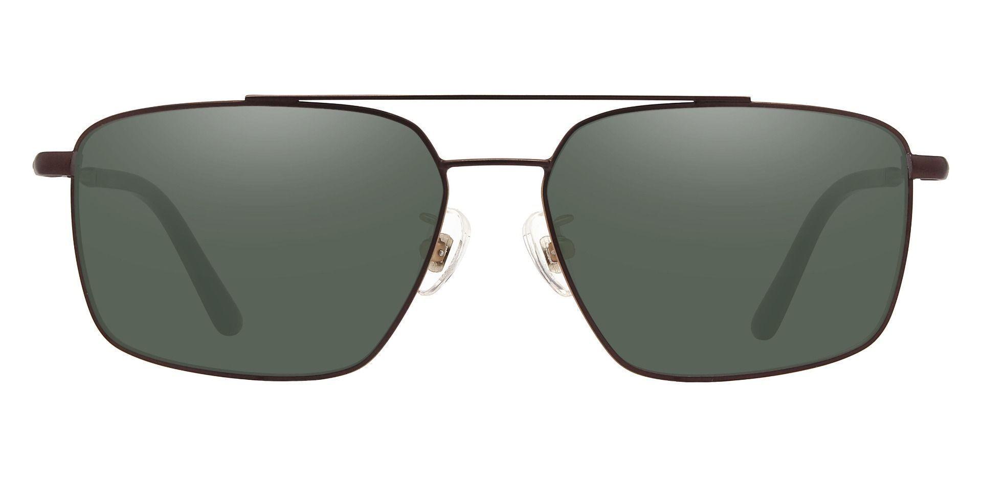 Barlow Aviator Prescription Sunglasses - Brown Frame With Green Lenses