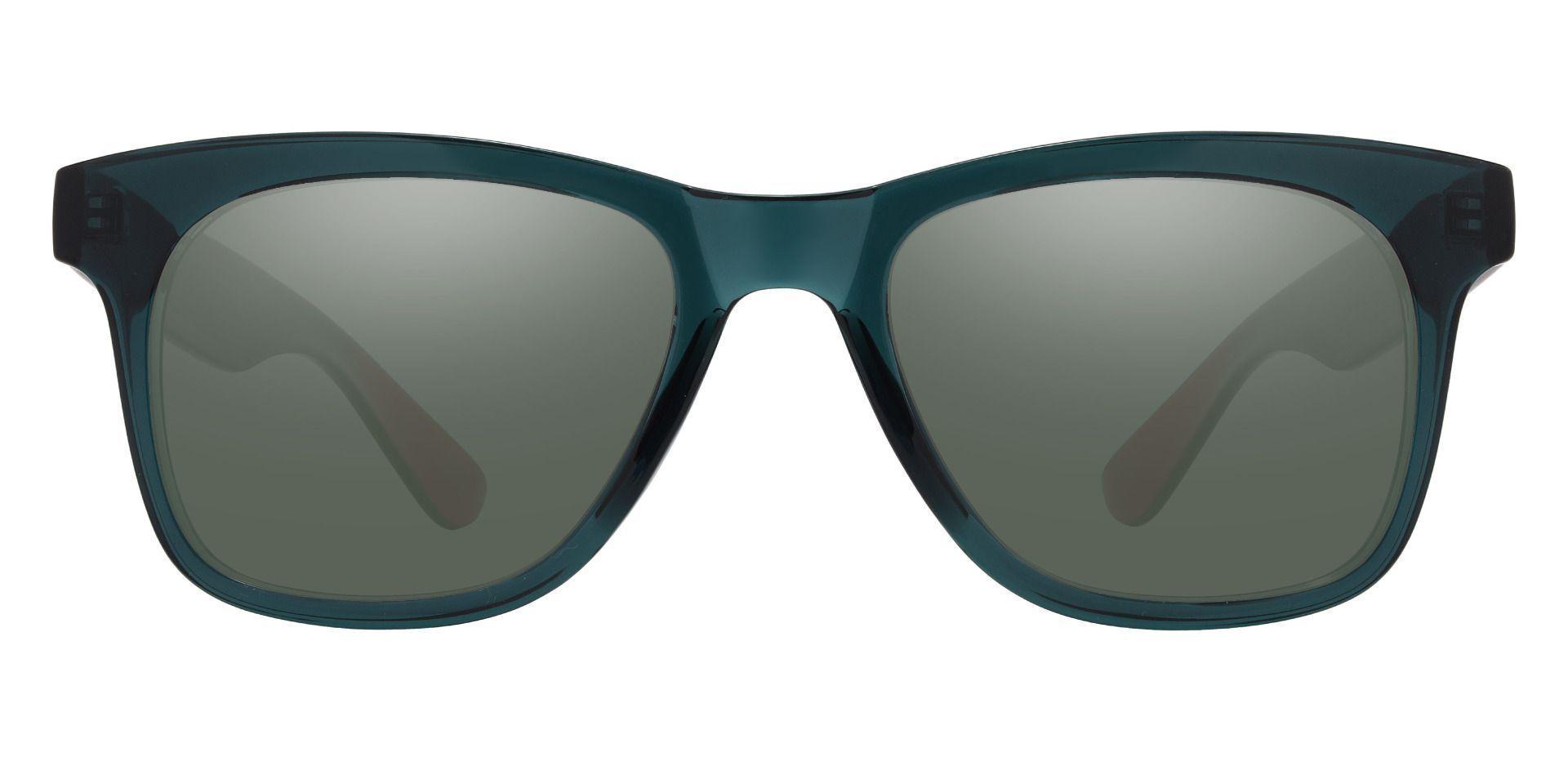 Hurley Square Prescription Sunglasses - Green Frame With Green Lenses