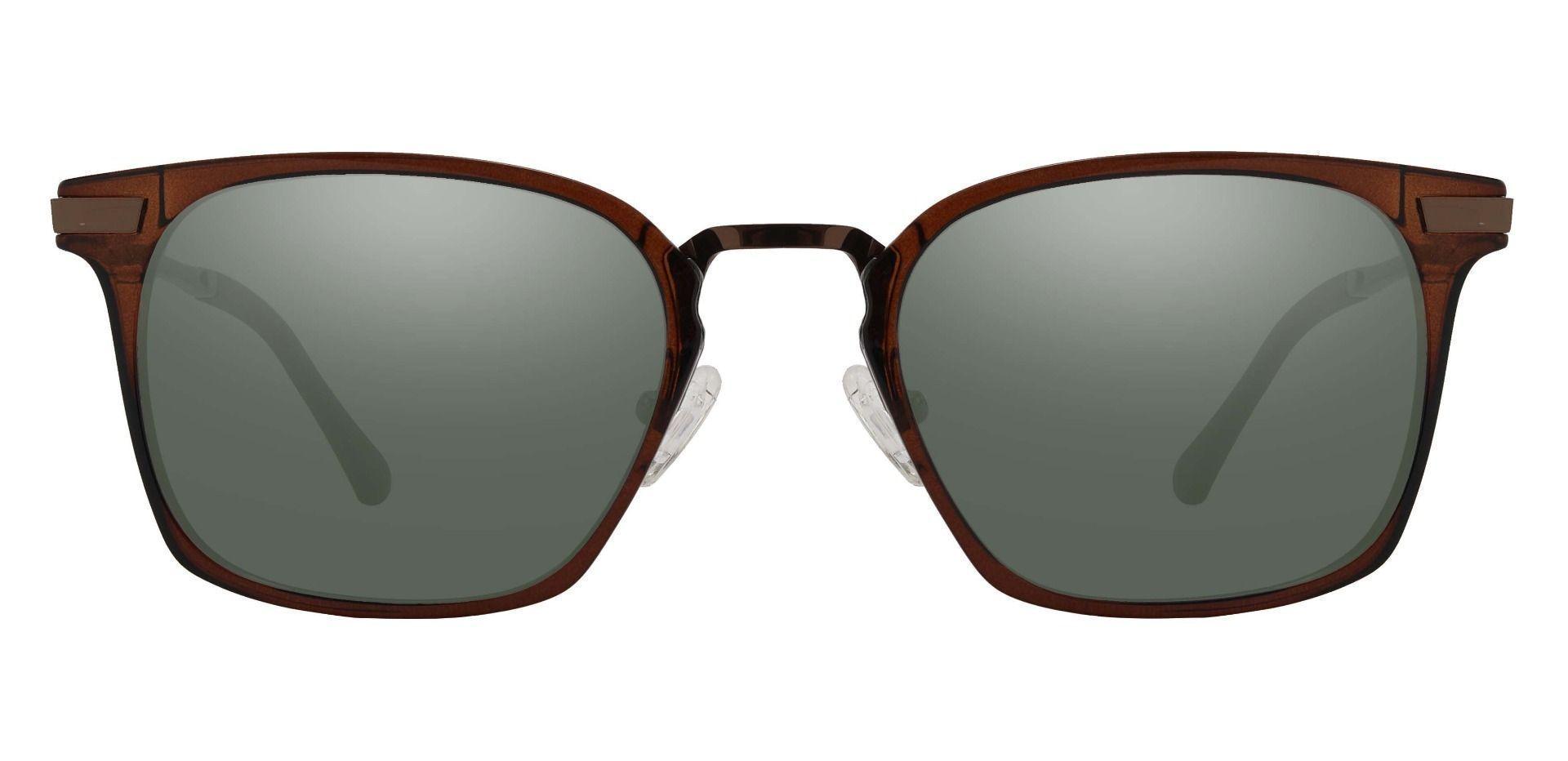 Jefferson Rectangle Prescription Sunglasses - Brown Frame With Green Lenses