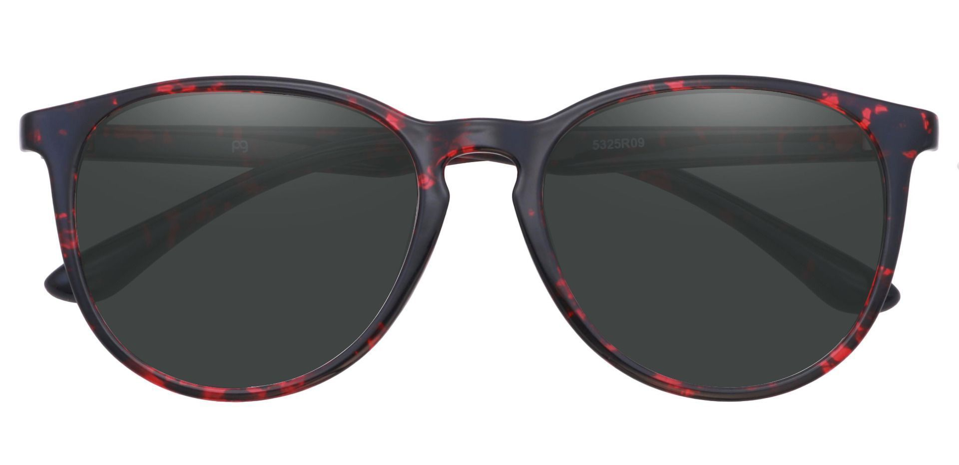 Maple Oval Prescription Sunglasses - Red Frame With Gray Lenses