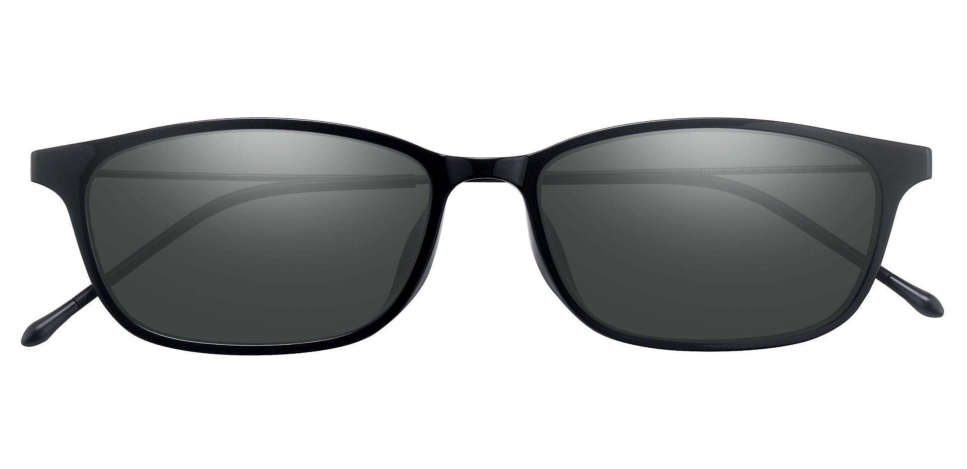 Vista Oval Prescription Sunglasses - Black Frame With Gray Lenses