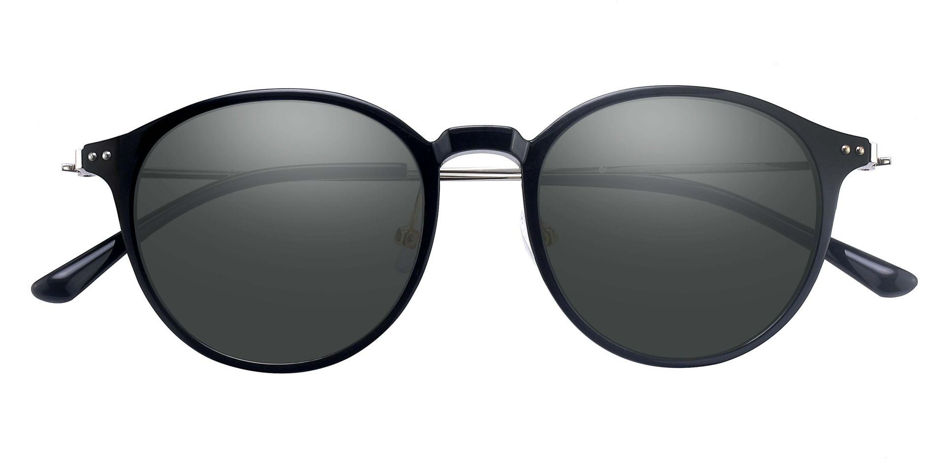 Meyer Round Prescription Sunglasses - Black Frame With Gray Lenses