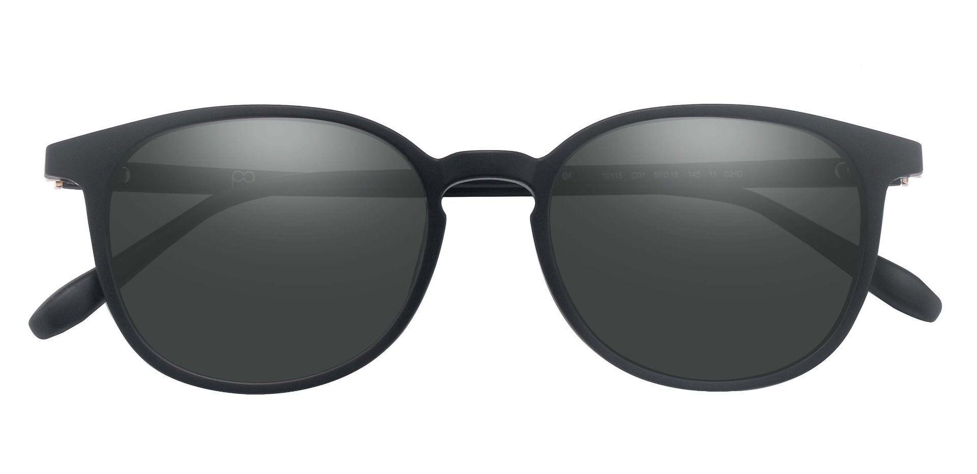 Lexington Oval Prescription Sunglasses - Black Frame With Gray Lenses