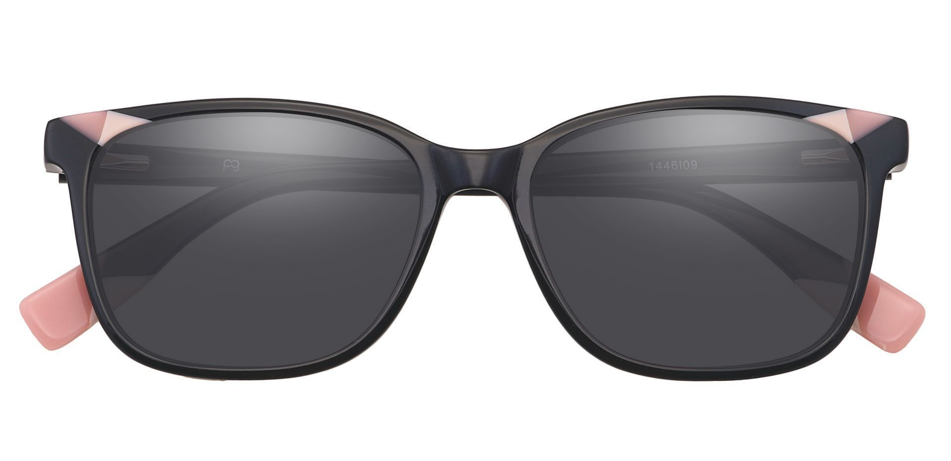Odessa Square Prescription Sunglasses -  Pink Frame With Gray Lenses
