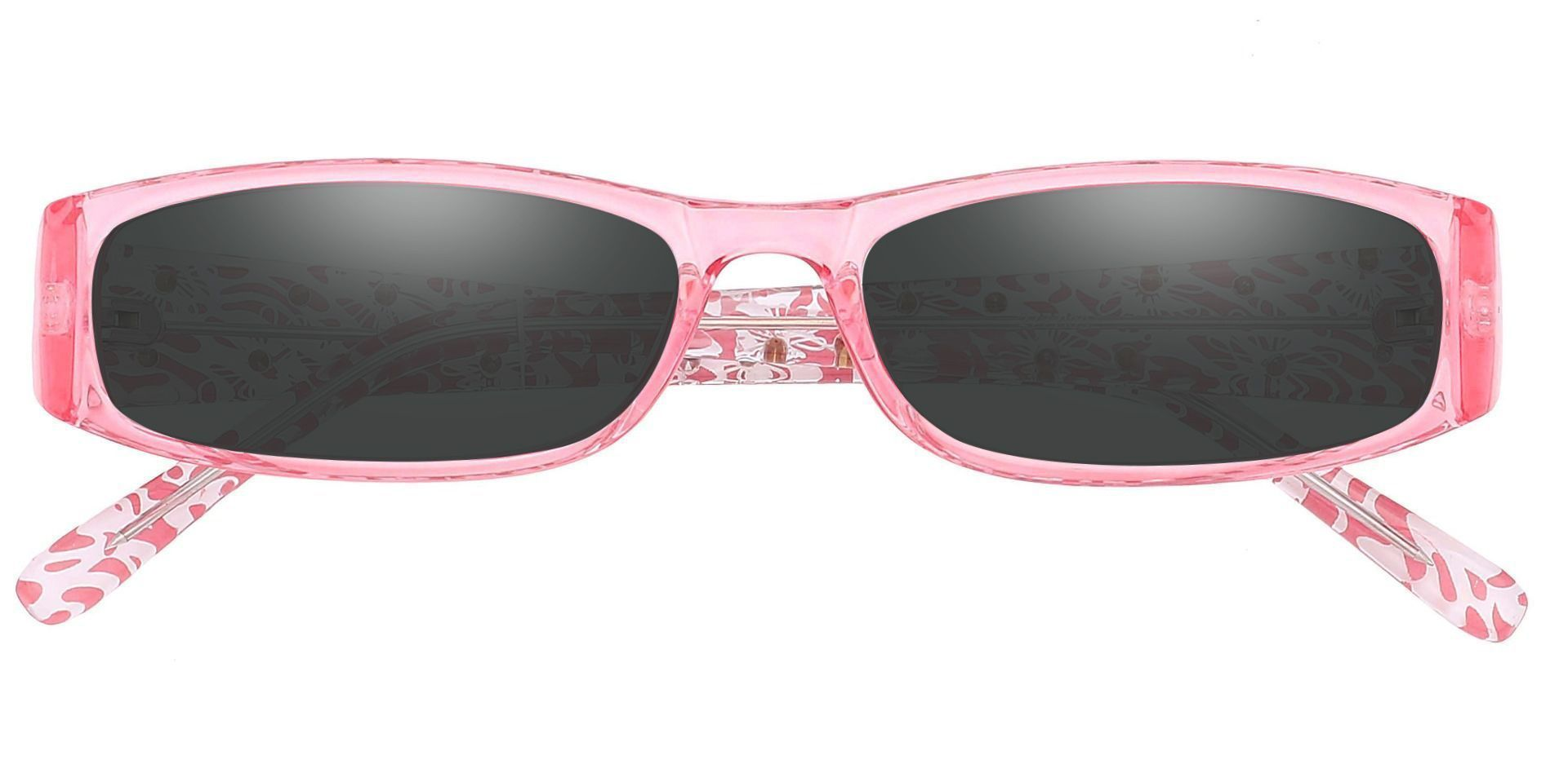 Camille Rectangle Single Vision Sunglasses -  Pink Frame With Gray Lenses