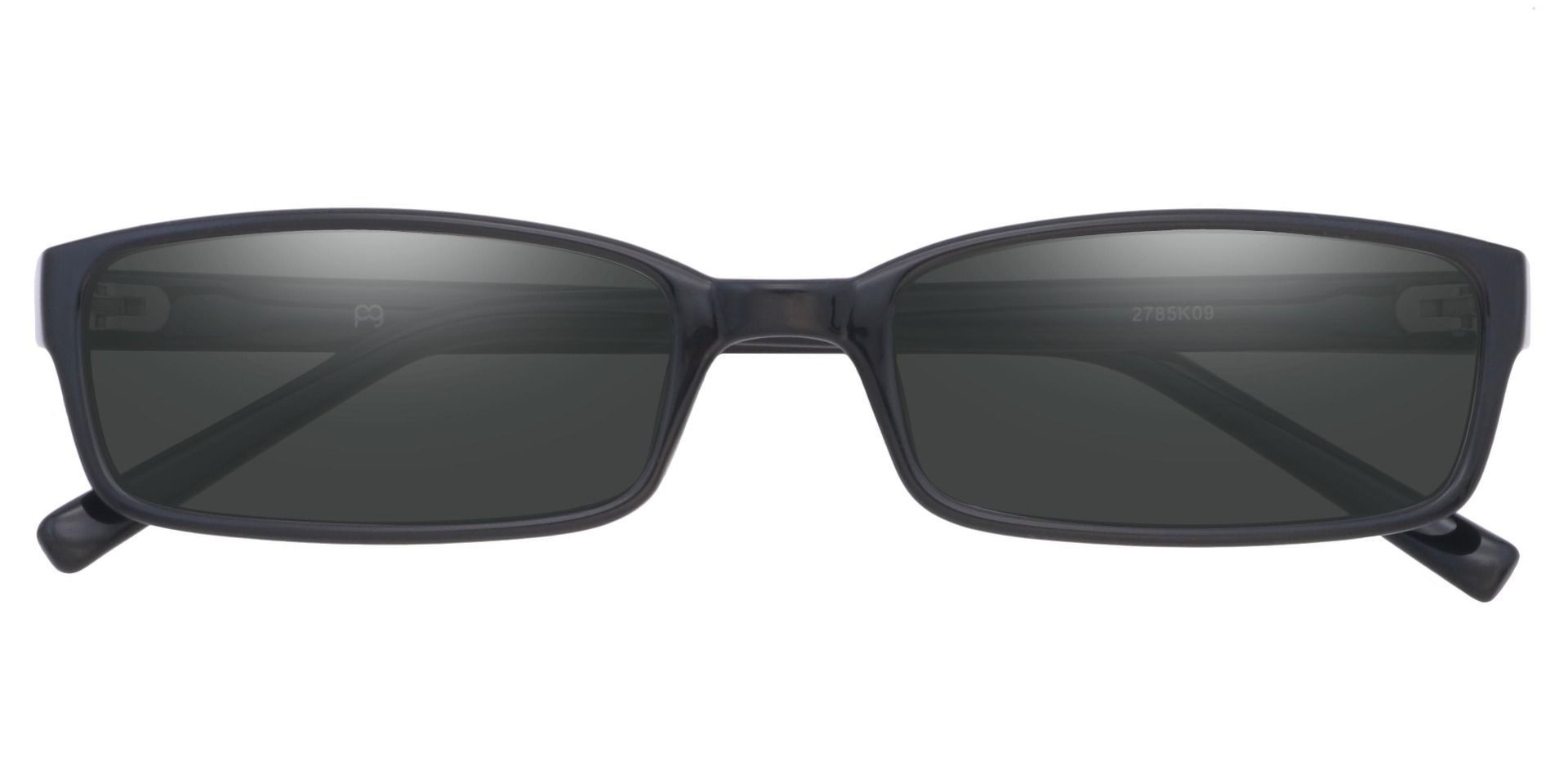 Sanford Rectangle Single Vision Sunglasses -  Black Frame With Gray Lenses