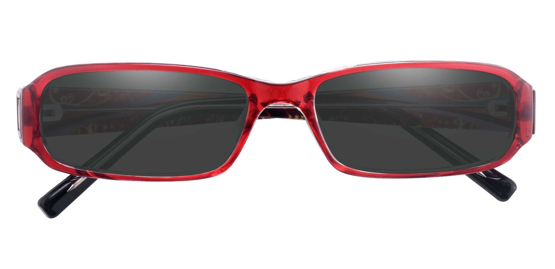 Coral Rectangle Single Vision Sunglasses -  Red Frame With Gray Lenses