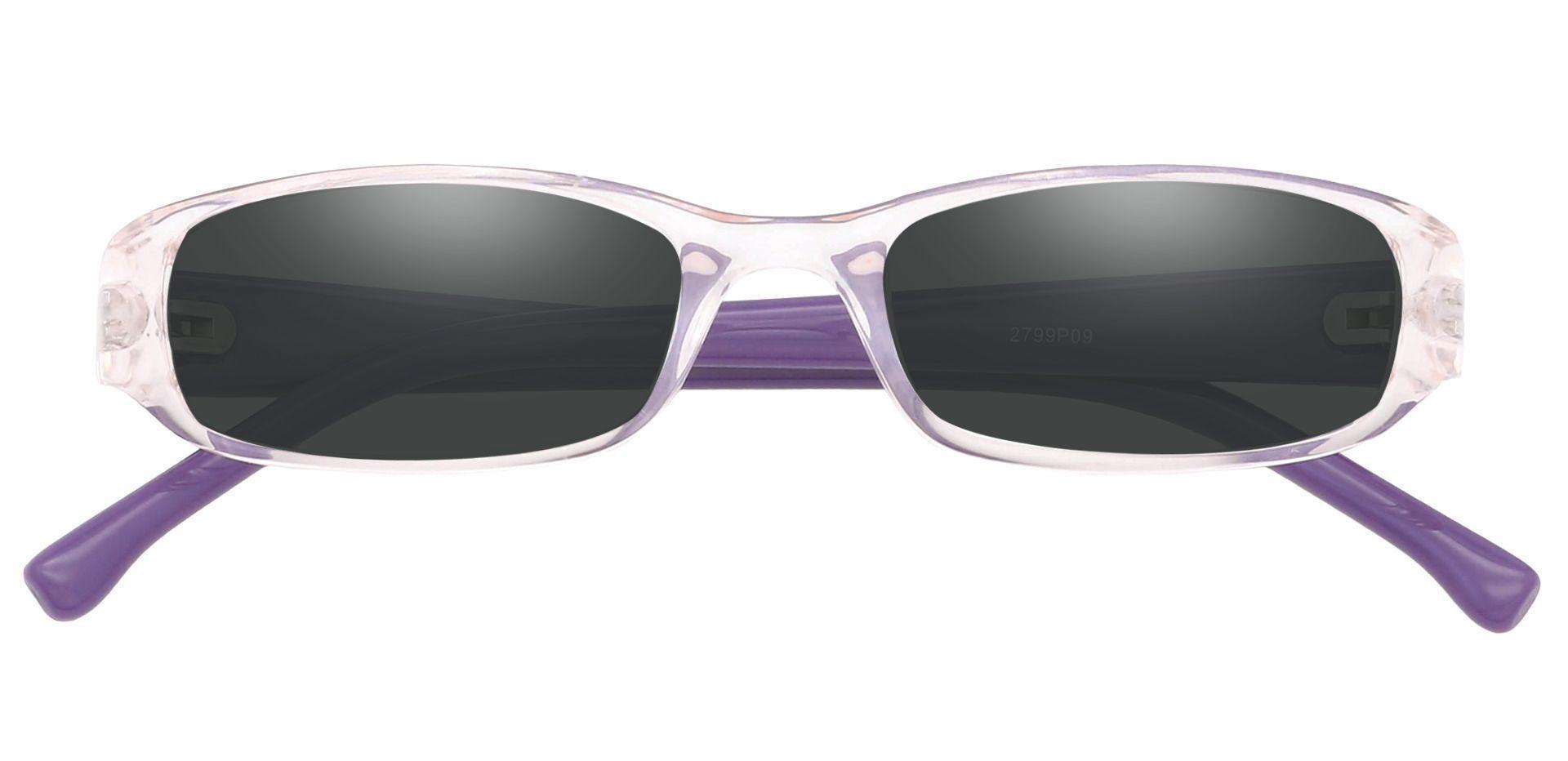 Laurel Rectangle Single Vision Sunglasses -  Purple Frame With Gray Lenses