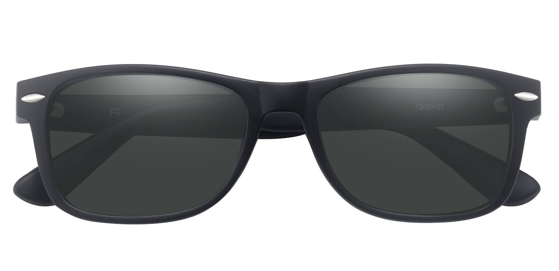 Kent Rectangle Prescription Sunglasses - Black Frame With Gray Lenses