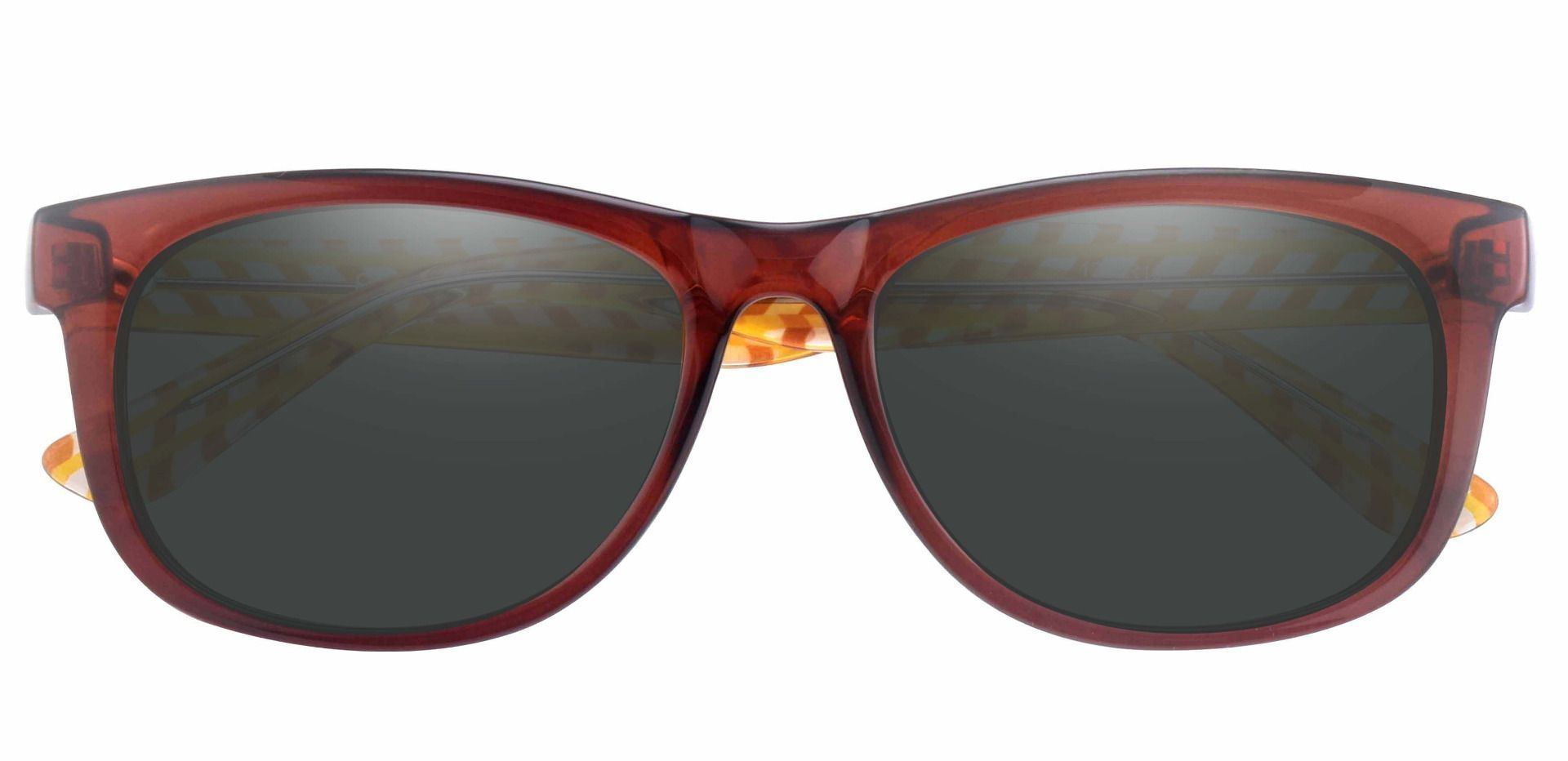 Bergamot Classic Square Prescription Sunglasses - Red Frame With Gray Lenses