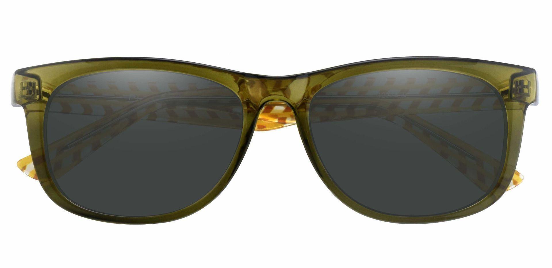 Bergamot Classic Square Prescription Sunglasses - Green Frame With Gray Lenses