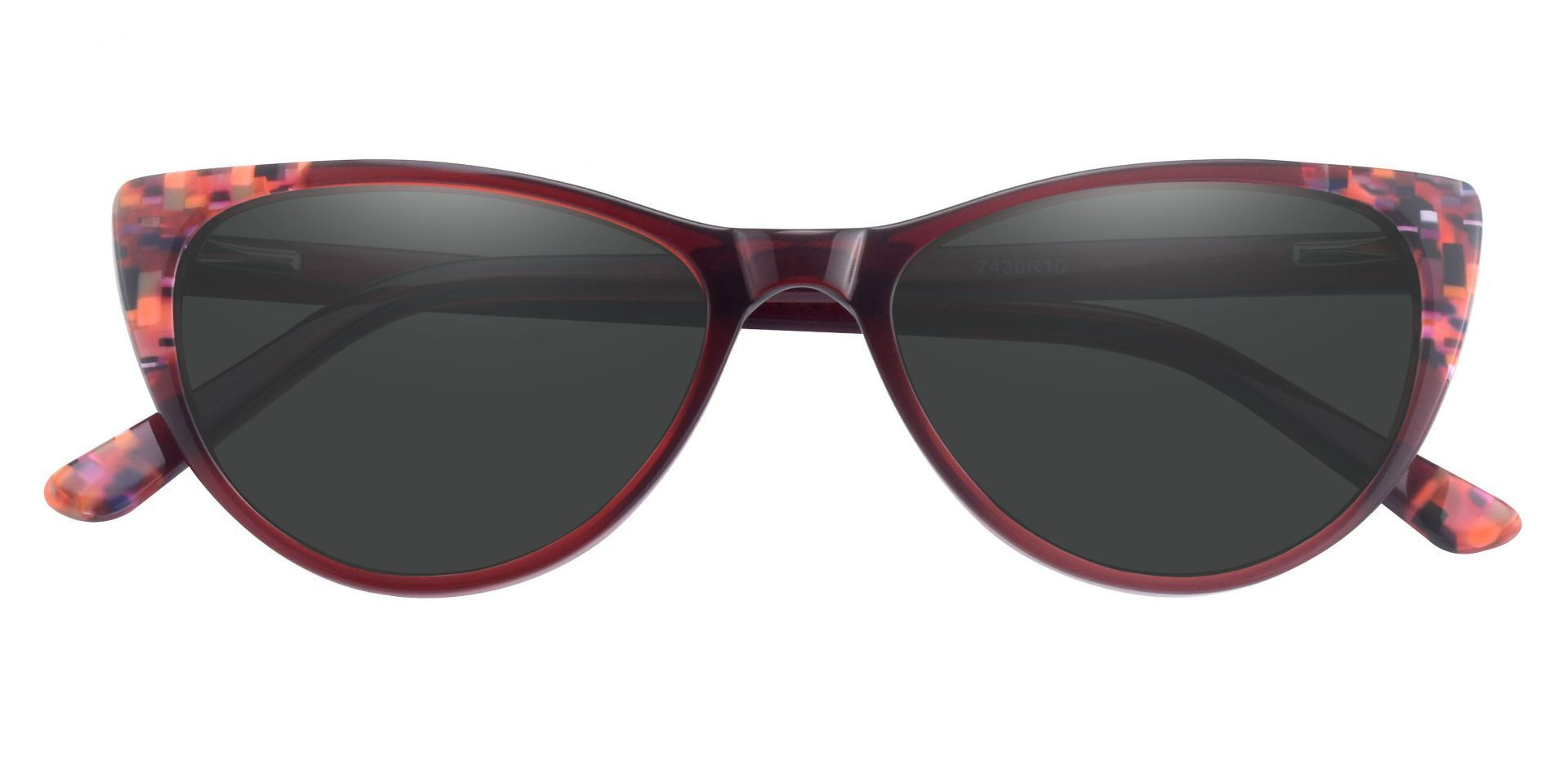 Plumeria Cat Eye Prescription Sunglasses - Red Frame With Gray Lenses