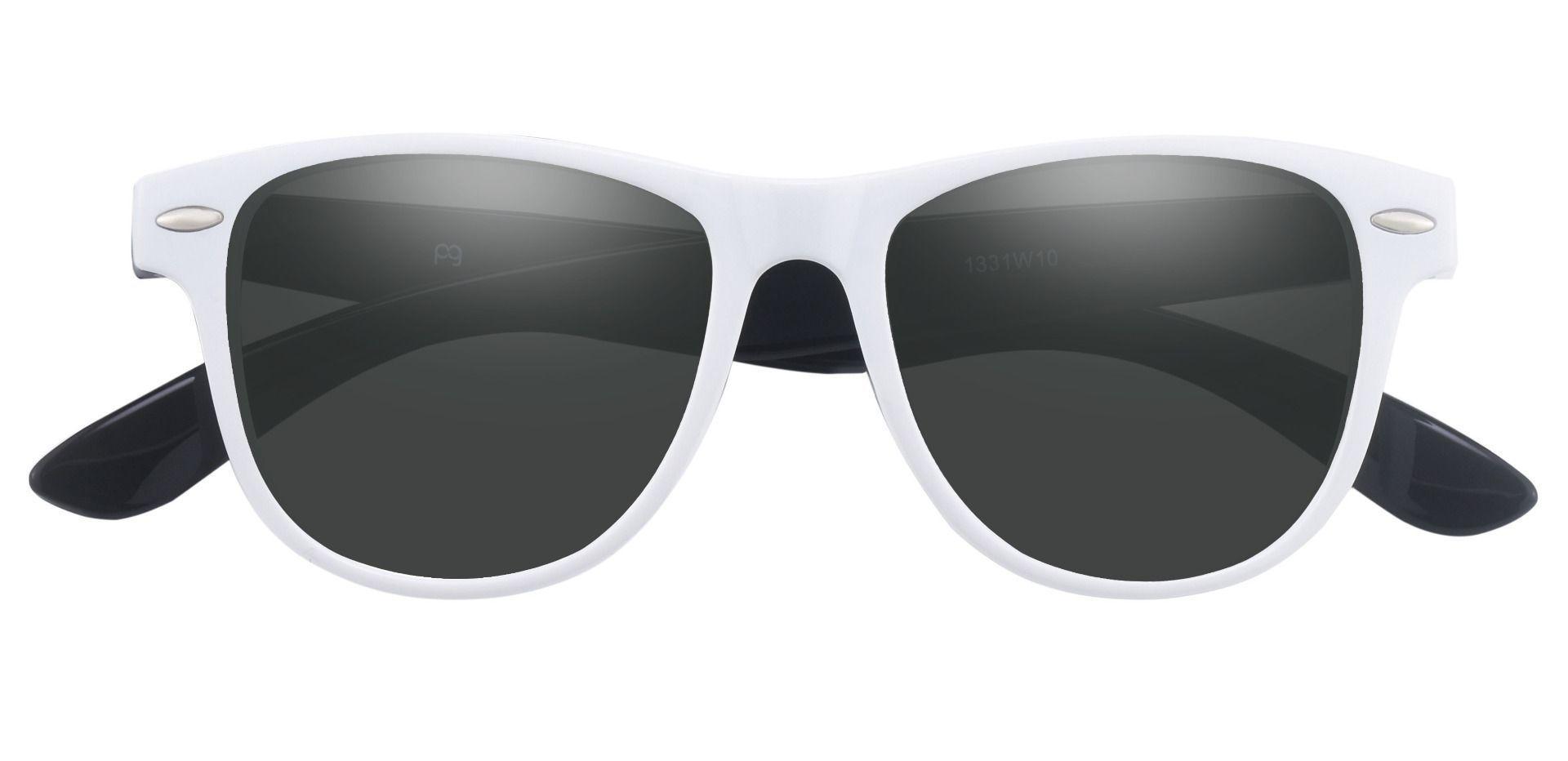 Radio Square Prescription Sunglasses - White Frame With Gray Lenses
