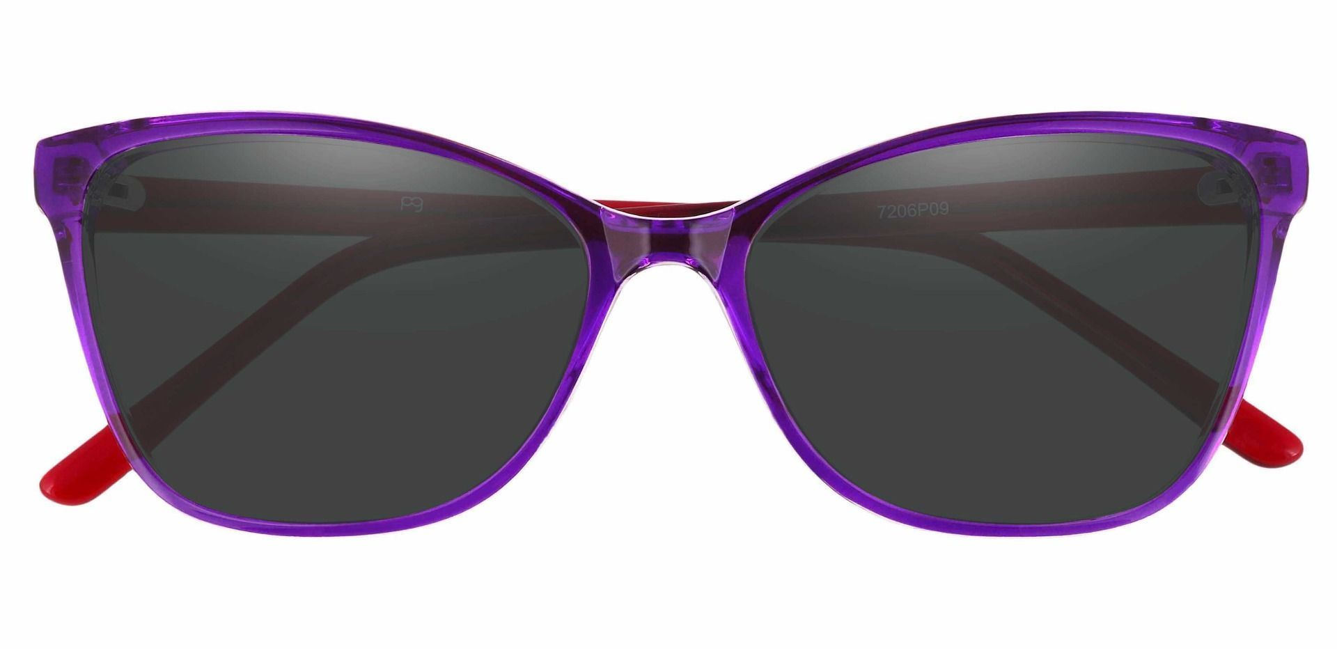 Brynn Cat Eye Prescription Sunglasses - Purple Frame With Gray Lenses