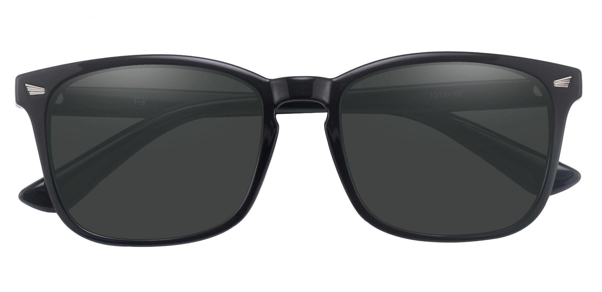Rogan Square Prescription Sunglasses - Black Frame With Gray Lenses