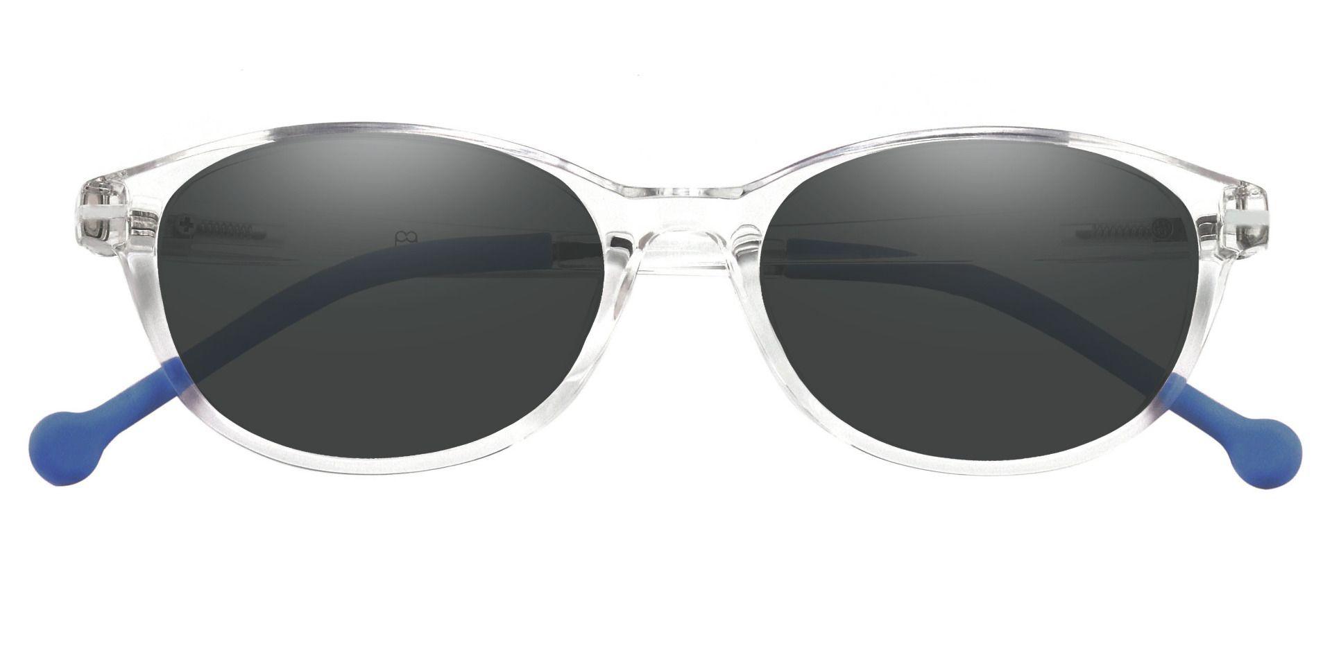 Wander Oval Prescription Sunglasses - Blue Frame With Gray Lenses
