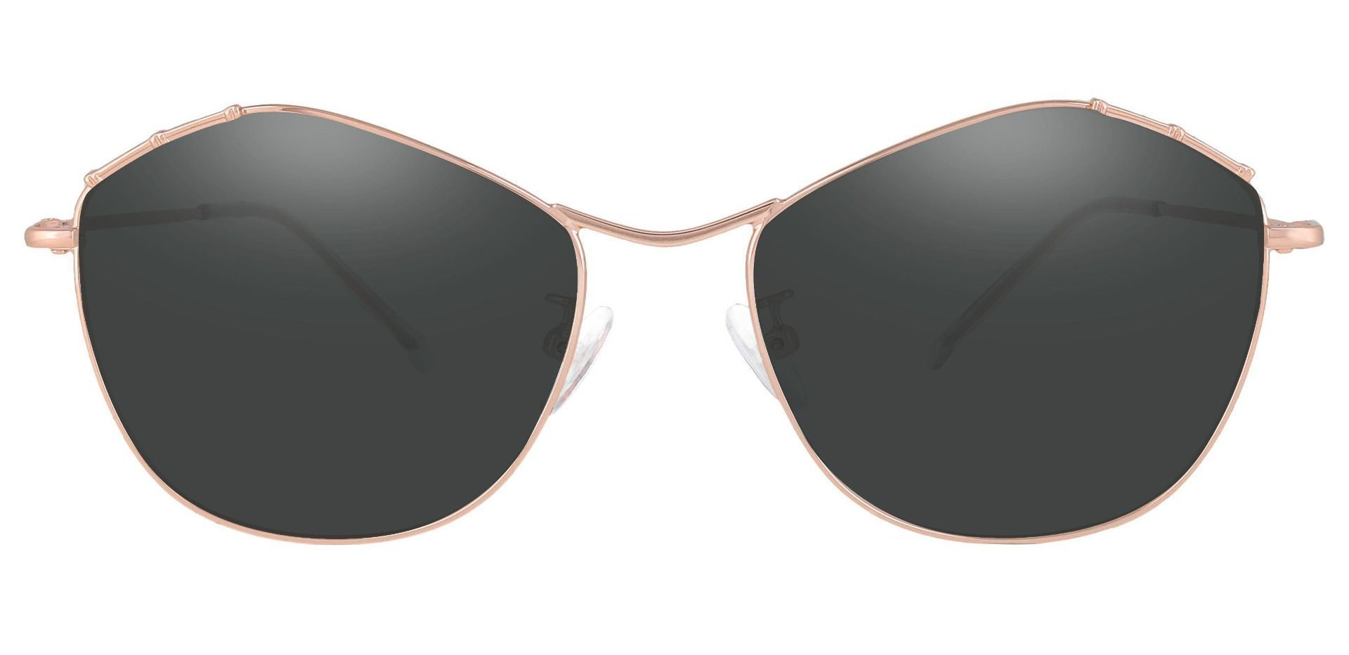 Bamboo Geometric Lined Bifocal Sunglasses - Rose Gold Frame With Gray Lenses