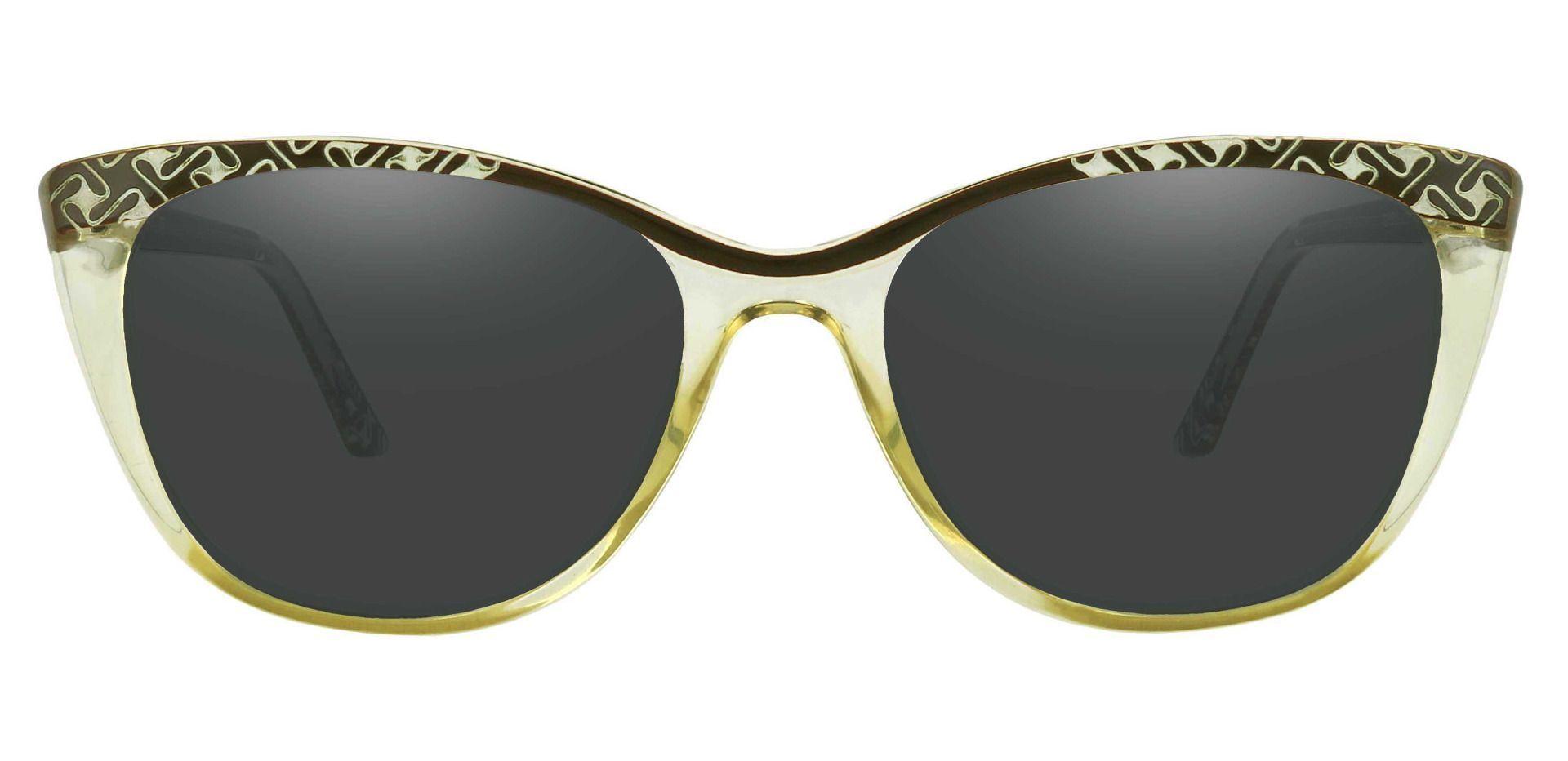 Alberta Cat Eye Prescription Sunglasses - Green Frame With Gray Lenses