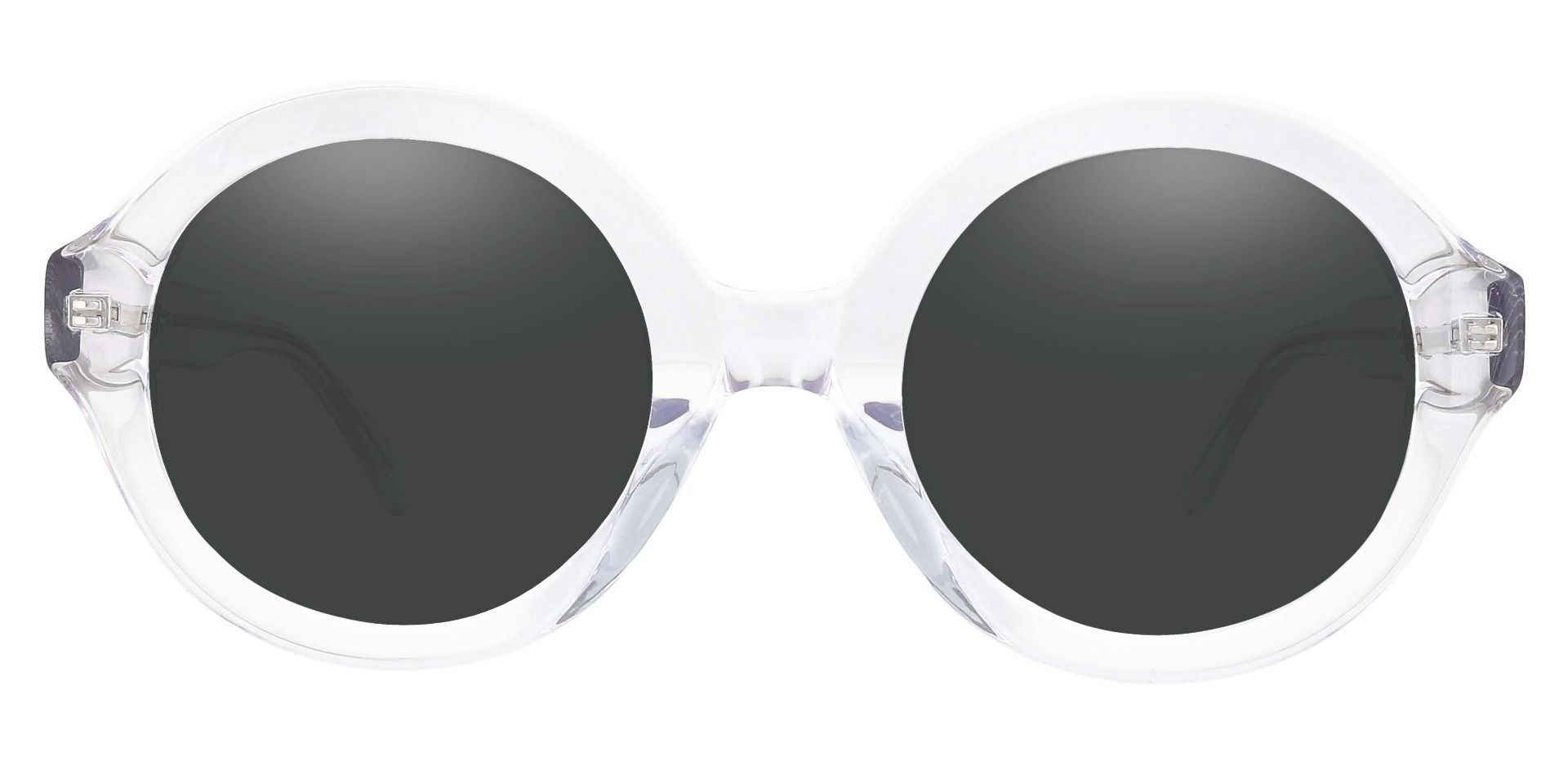 Clara Round Lined Bifocal Sunglasses - Clear Frame With Gray Lenses