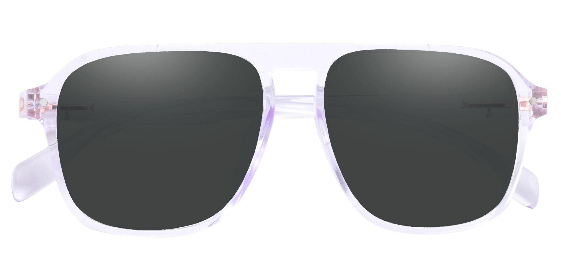 Gideon Aviator Reading Sunglasses - Clear Frame With Gray Lenses