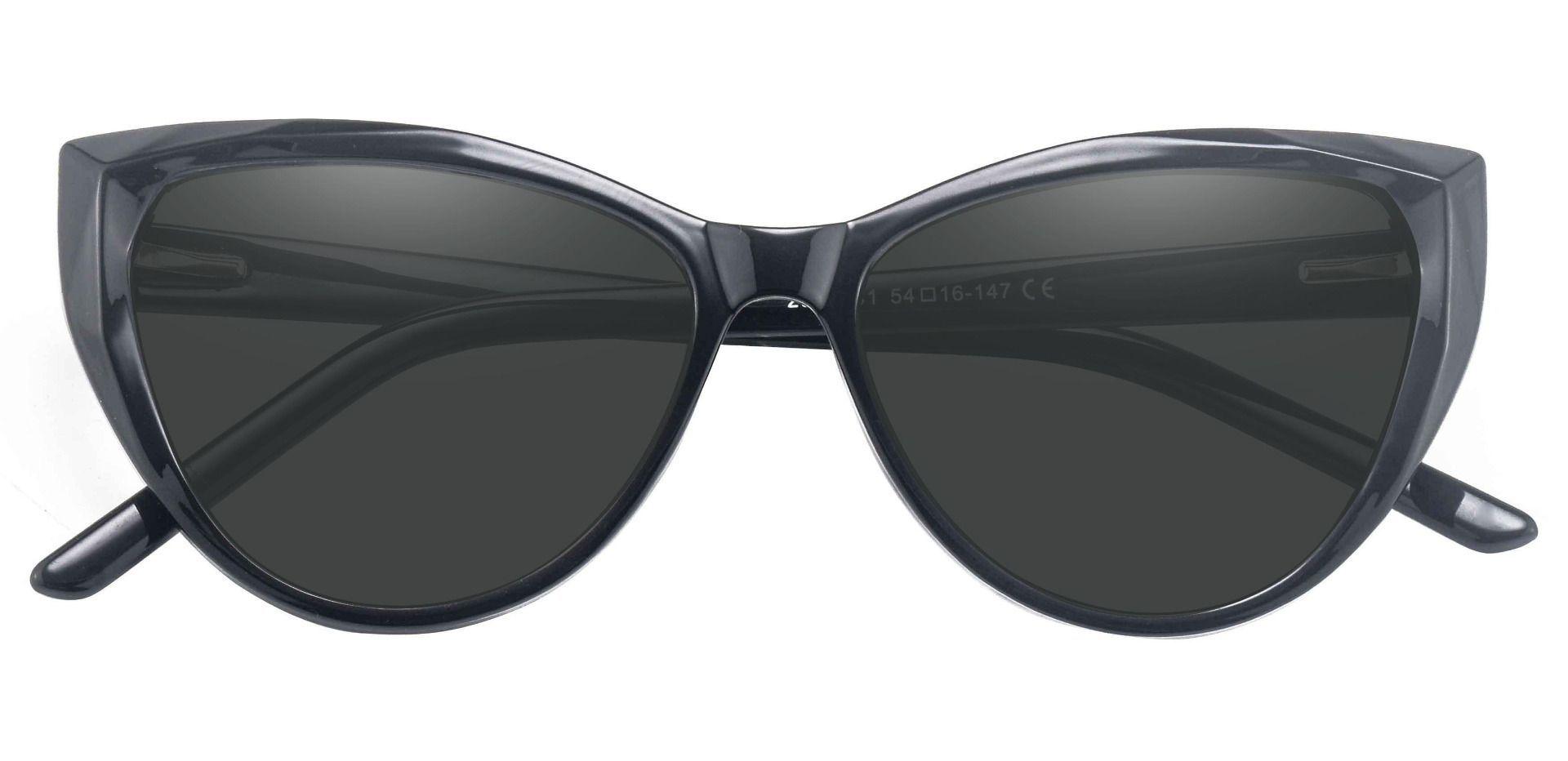 Ireland Cat Eye Progressive Sunglasses - Black Frame With Gray Lenses