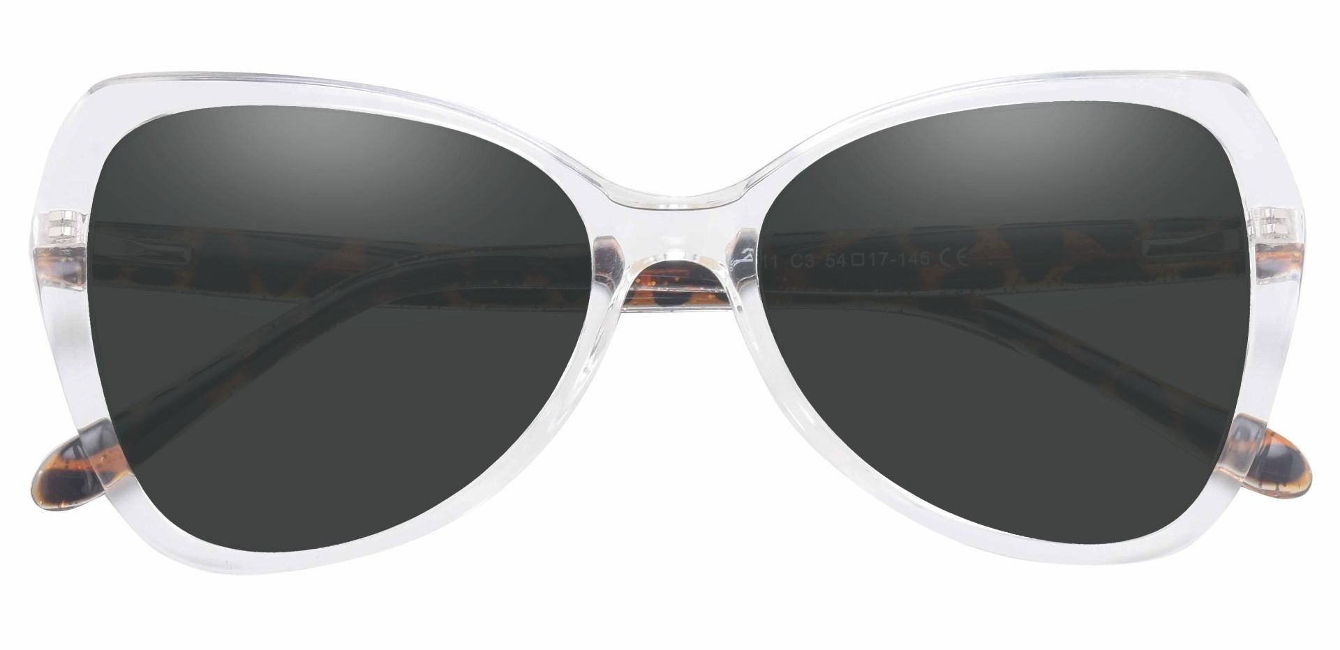 Kayla Geometric Prescription Sunglasses - Clear Frame With Gray Lenses