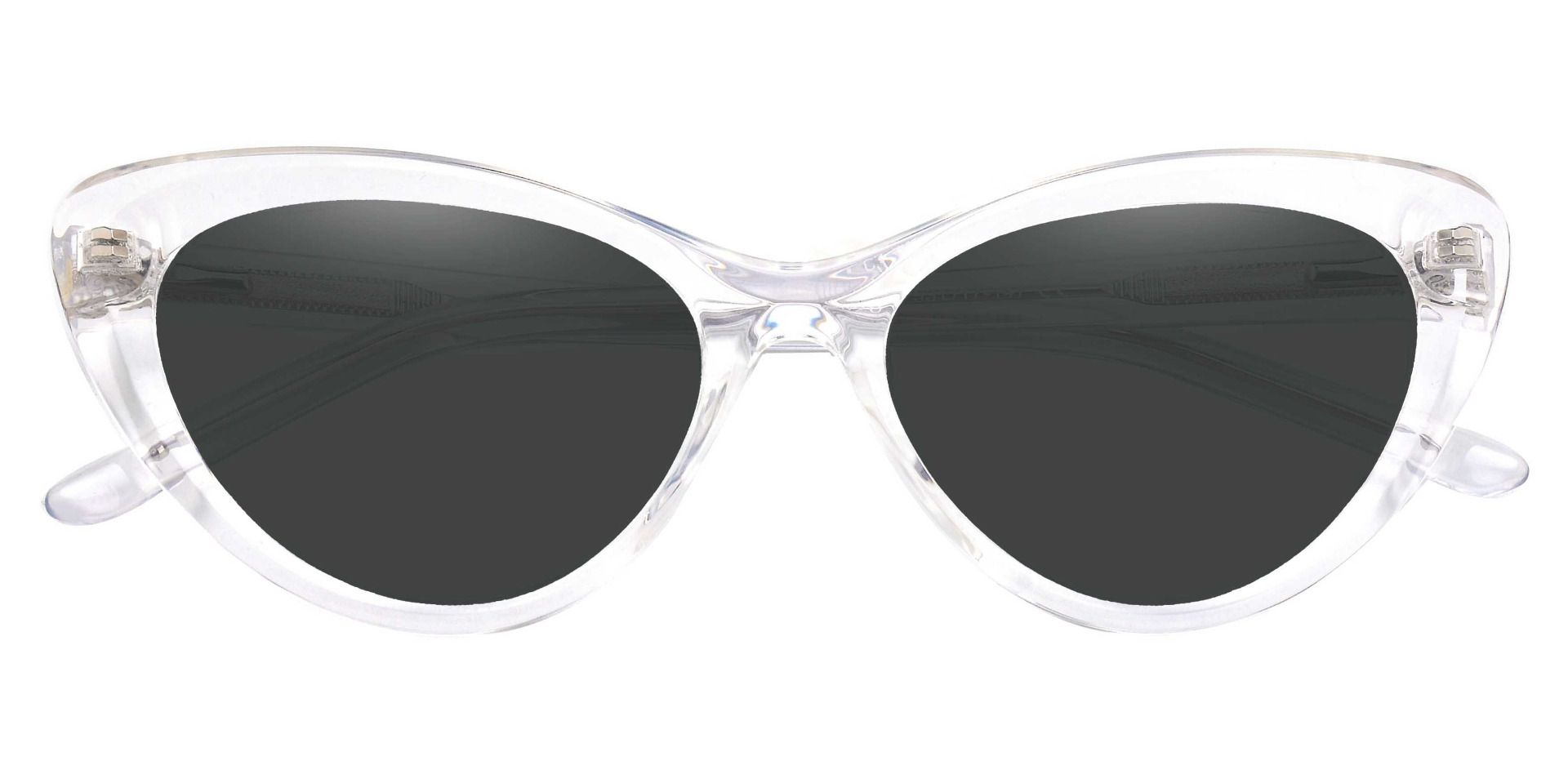 Gemini Cat Eye Prescription Sunglasses - Clear Frame With Gray Lenses