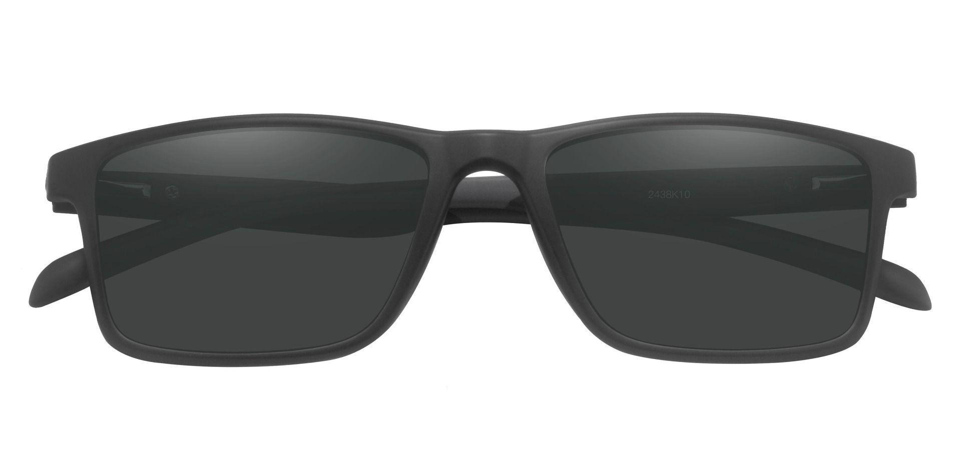 Miles Rectangle Prescription Sunglasses - Black Frame With Gray Lenses