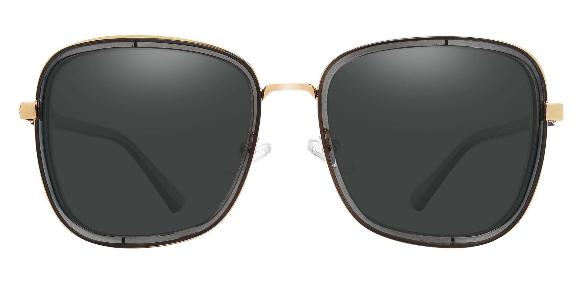 Shimmer Square Non-Rx Sunglasses - Gray Frame With Gray Lenses