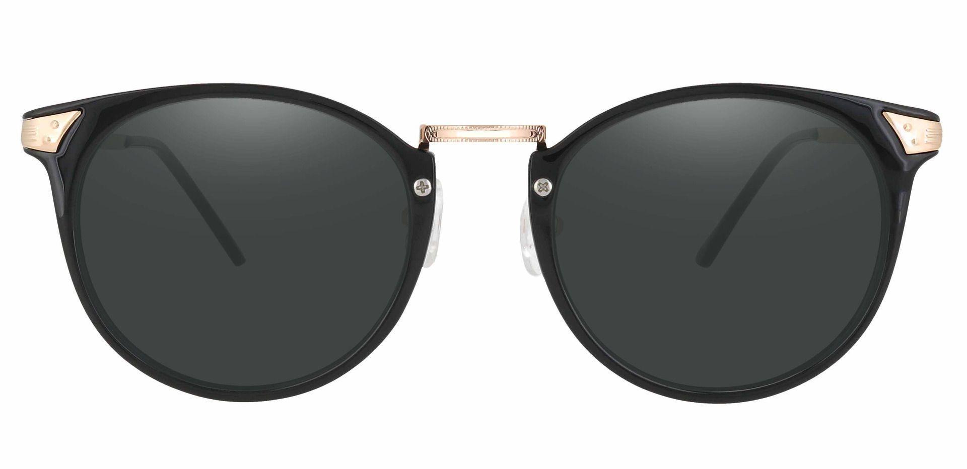 Blackwell Round Prescription Sunglasses - Black Frame With Gray Lenses