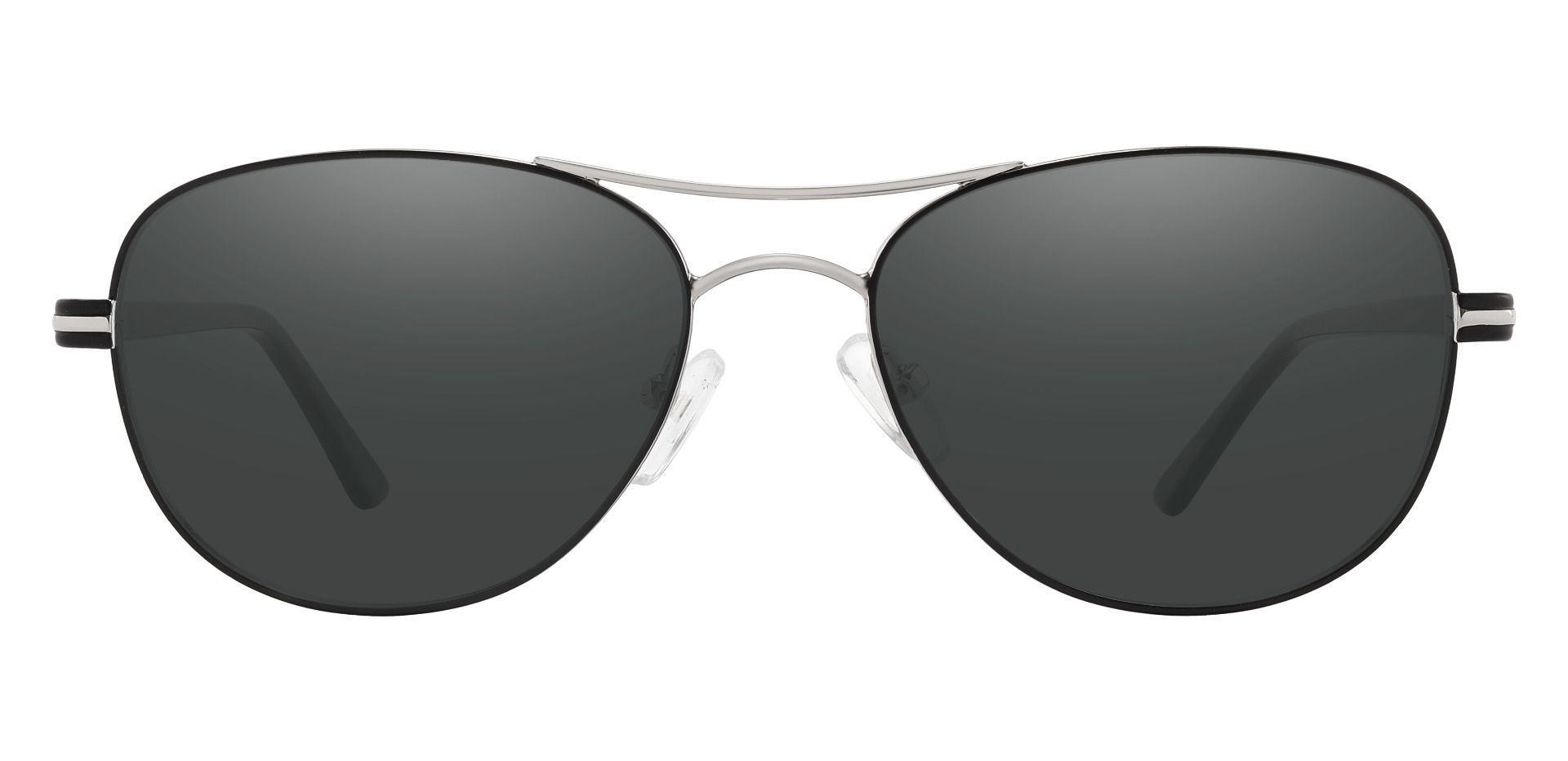 Reeves Aviator Prescription Sunglasses - Silver Frame With Gray Lenses