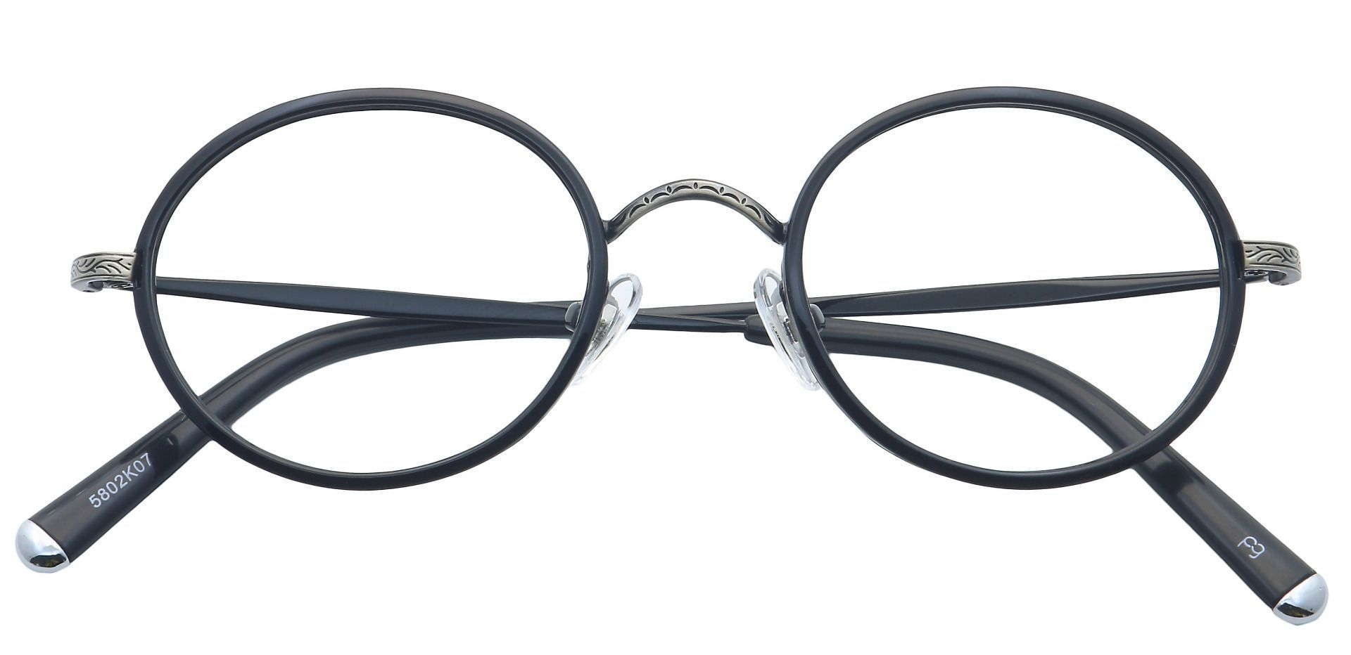 Petunia Round Blue Light Blocking Glasses - Black