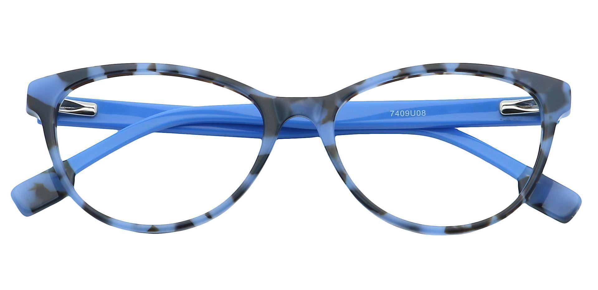 Coral Cat-Eye Prescription Glasses - Blue