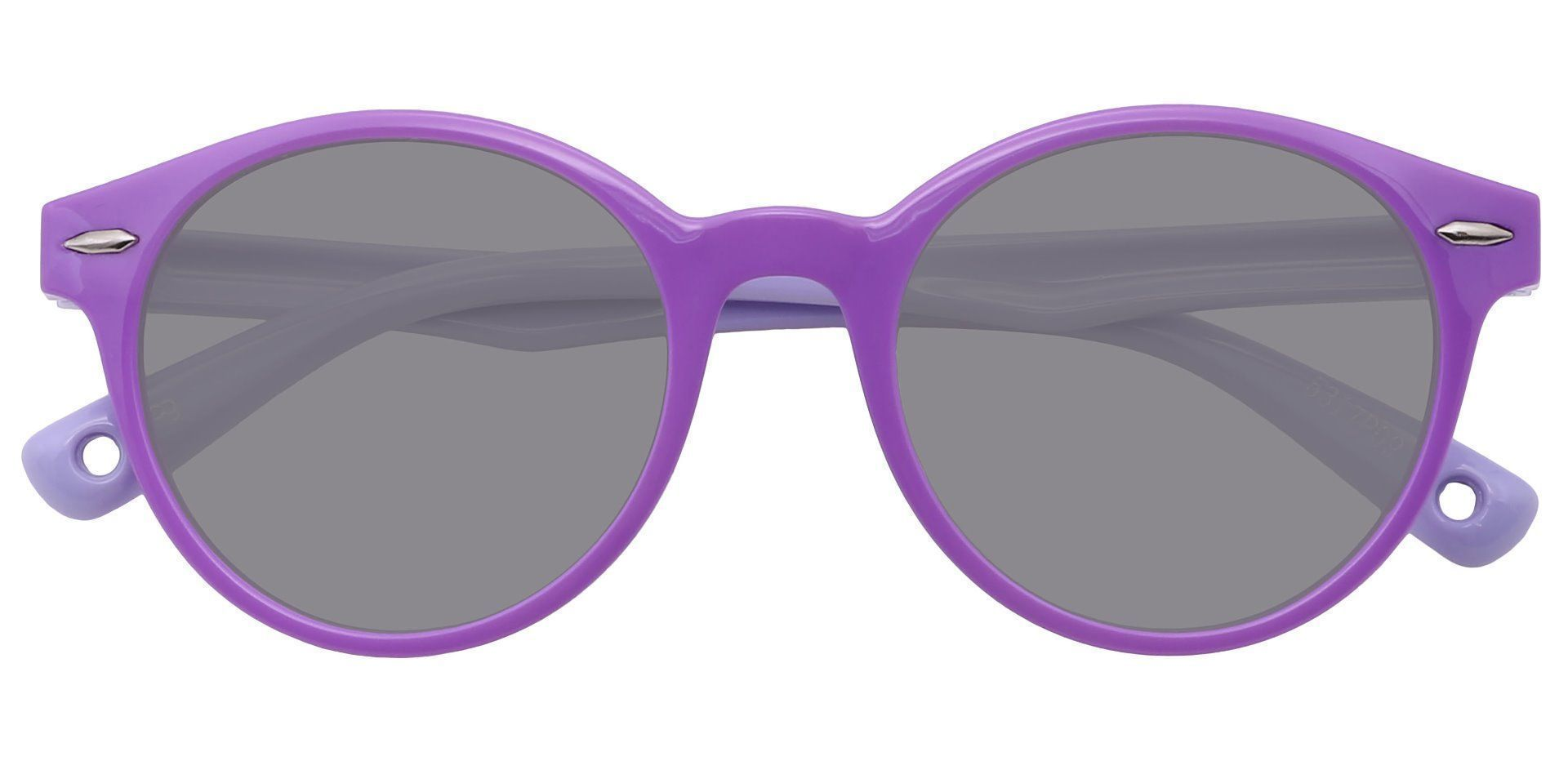 Harris Round Non-Rx Sunglasses - Purple Frame With Gray Lenses