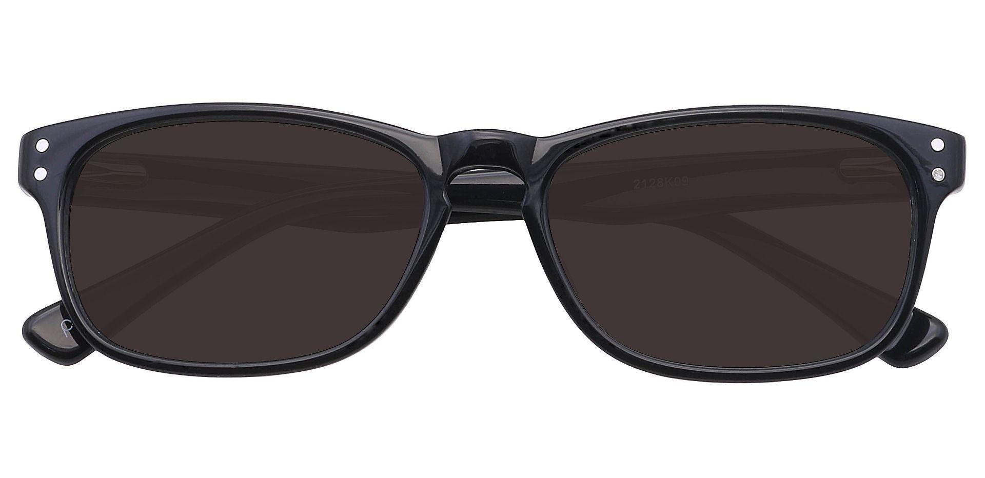Morris Rectangle Lined Bifocal Sunglasses - Black Frame With Gray Lenses