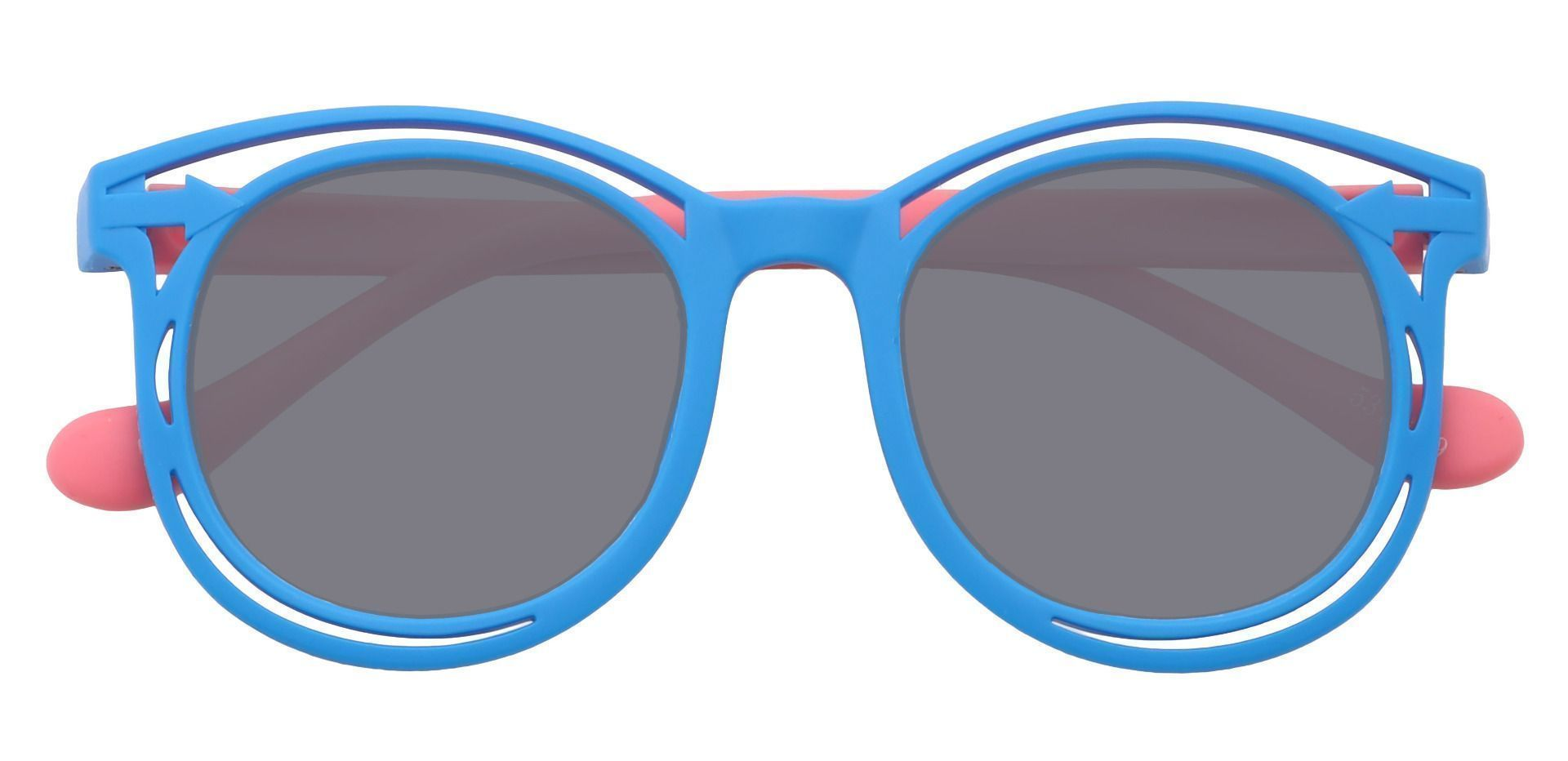 Bolt Round Single Vision Sunglasses - Blue Frame With Gray Lenses