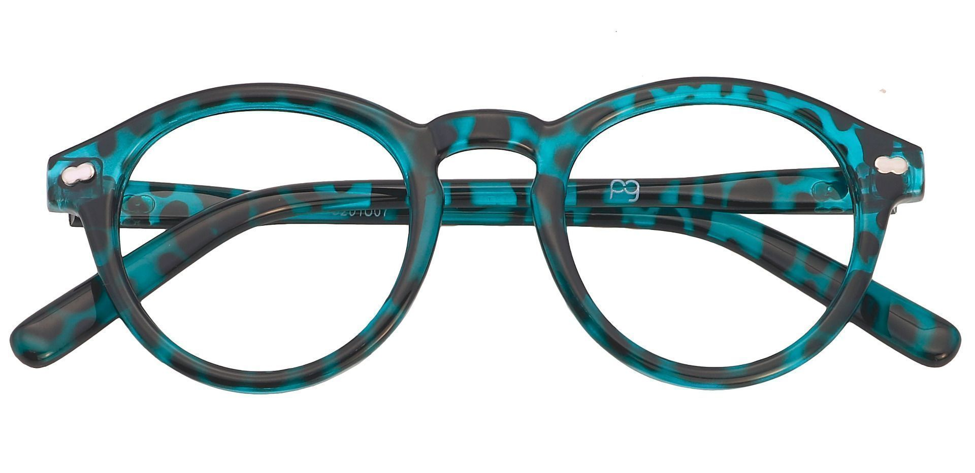 Vee Round Blue Light Blocking Glasses - Turquoise Havana
