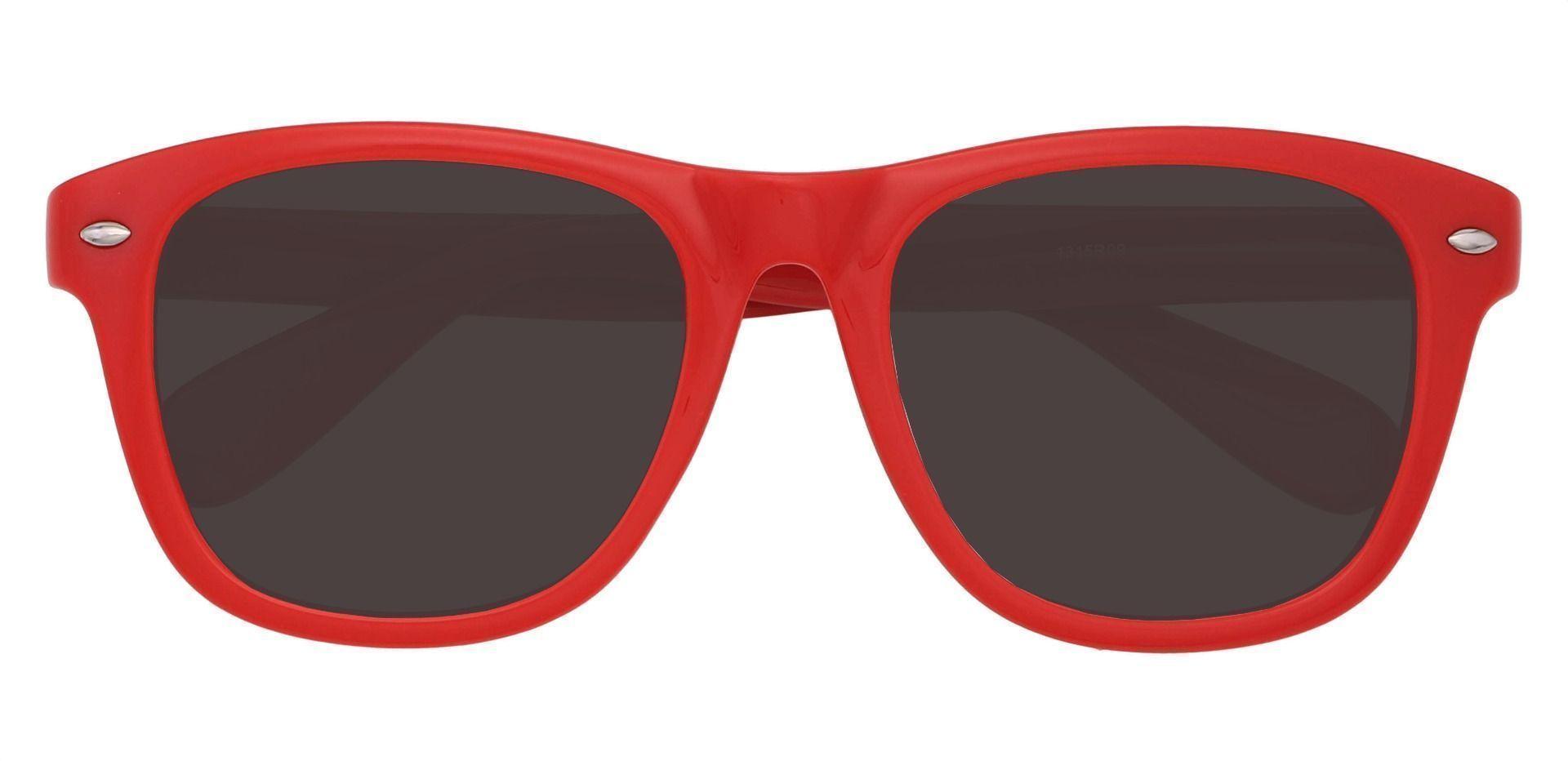 Yolanda Square Prescription Sunglasses - Red Frame With Gray Lenses