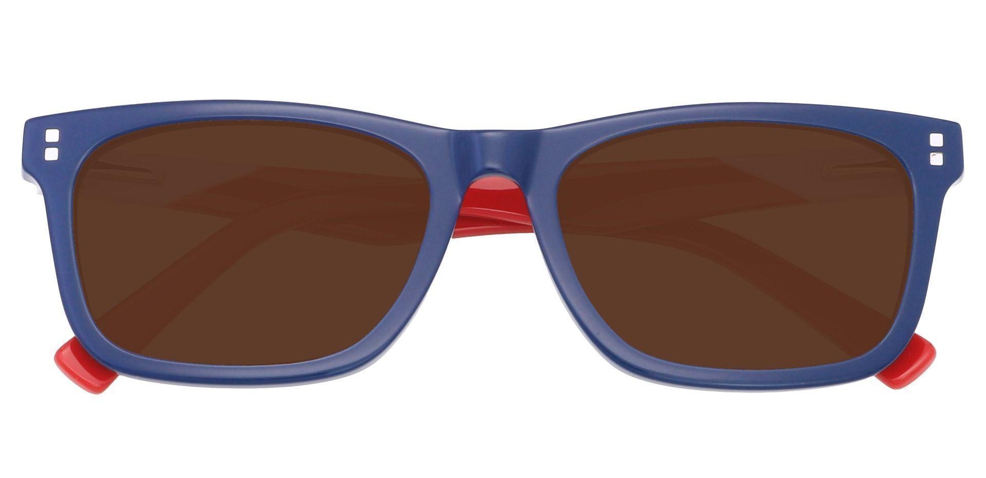 Newbury Rectangle Progressive Sunglasses - Blue Frame With Brown Lenses
