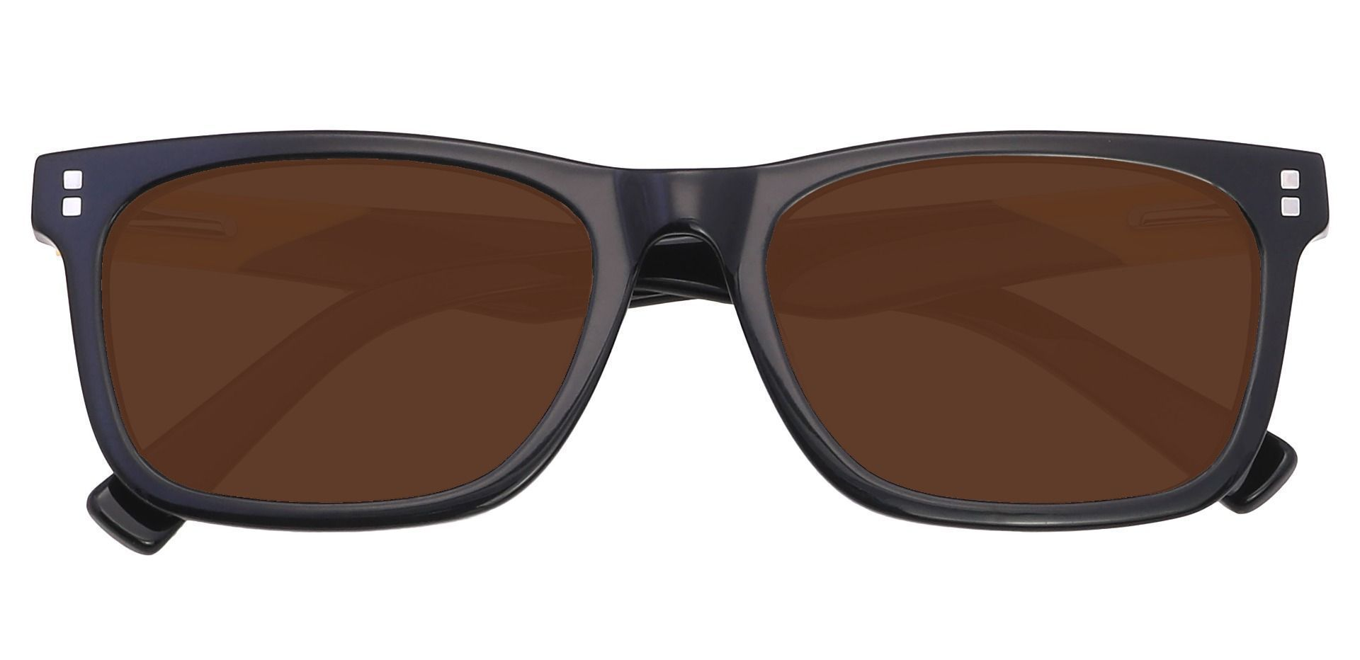 Liberty Rectangle Lined Bifocal Sunglasses - Black Frame With Brown Lenses