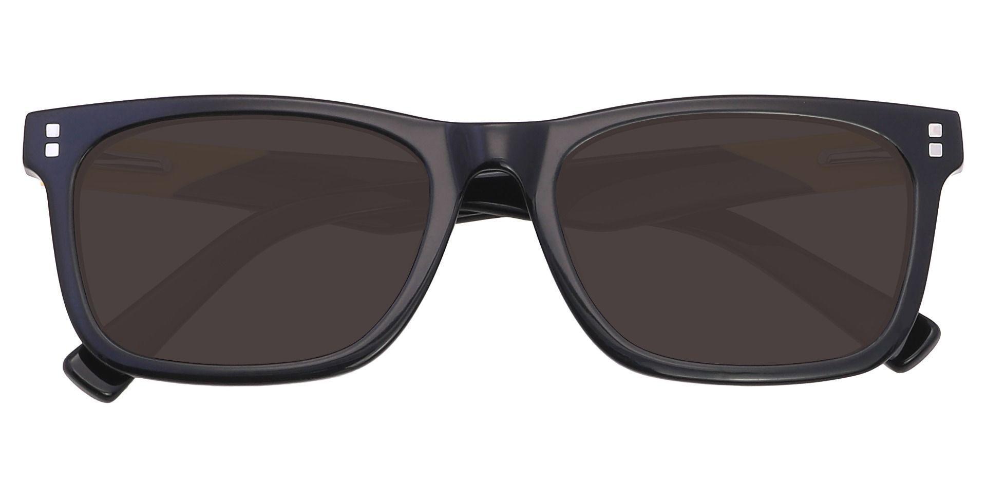 Carnegie Rectangle Prescription Sunglasses - Black Frame With Gray Lenses