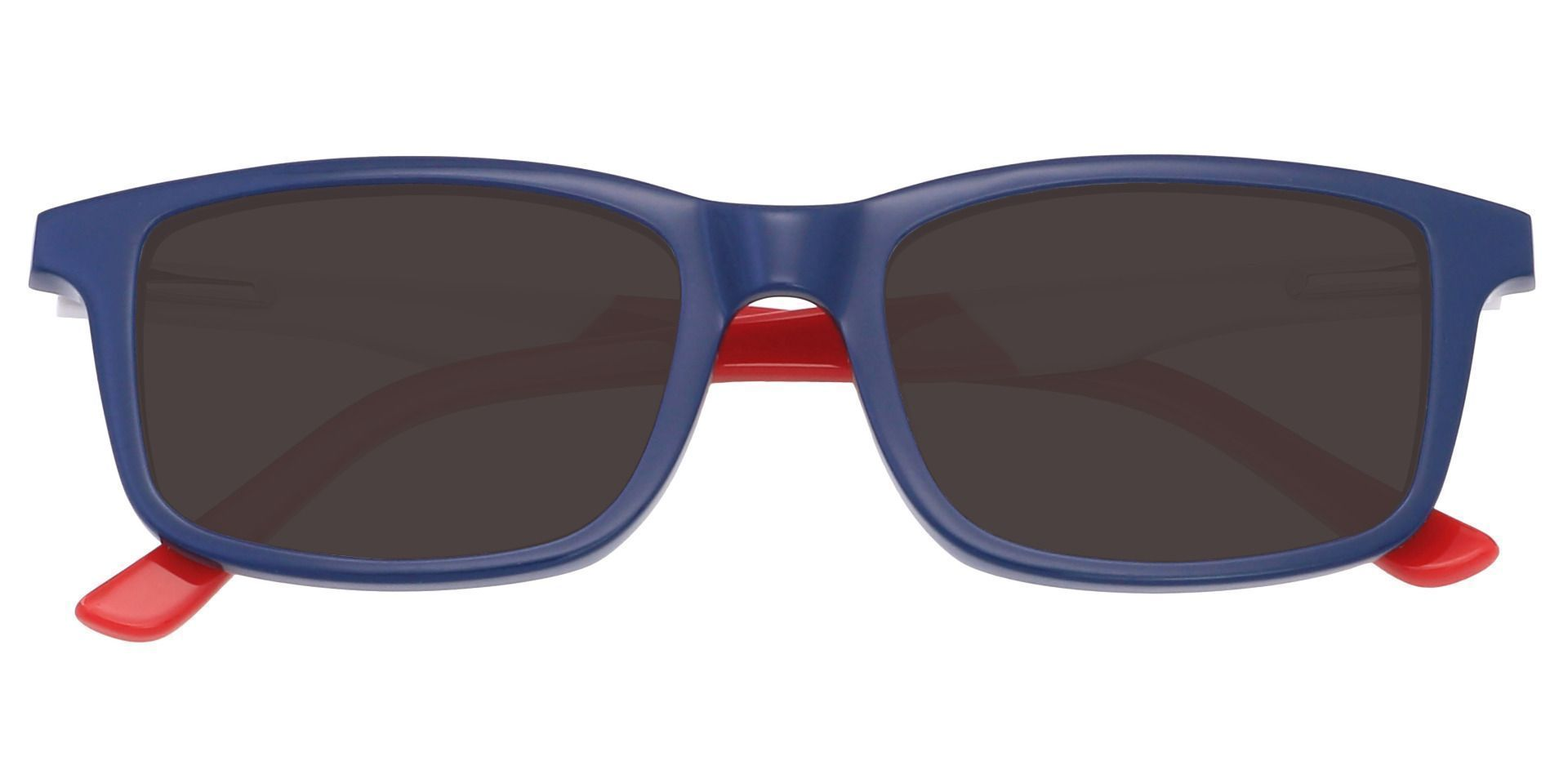 Hub Rectangle Single Vision Sunglasses - Blue Frame With Gray Lenses
