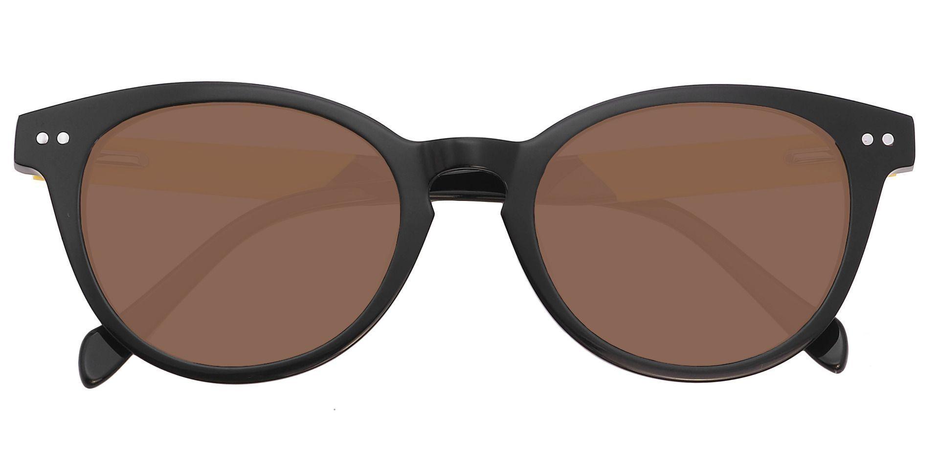Forbes Oval Progressive Sunglasses - Black Frame With Brown Lenses
