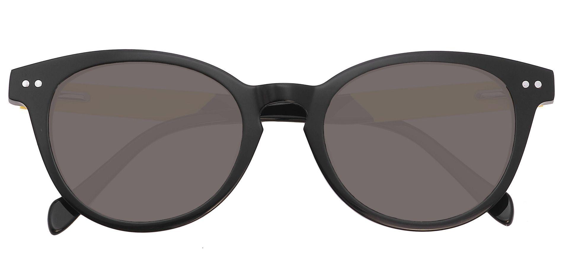Forbes Oval Prescription Sunglasses - Black Frame With Gray Lenses