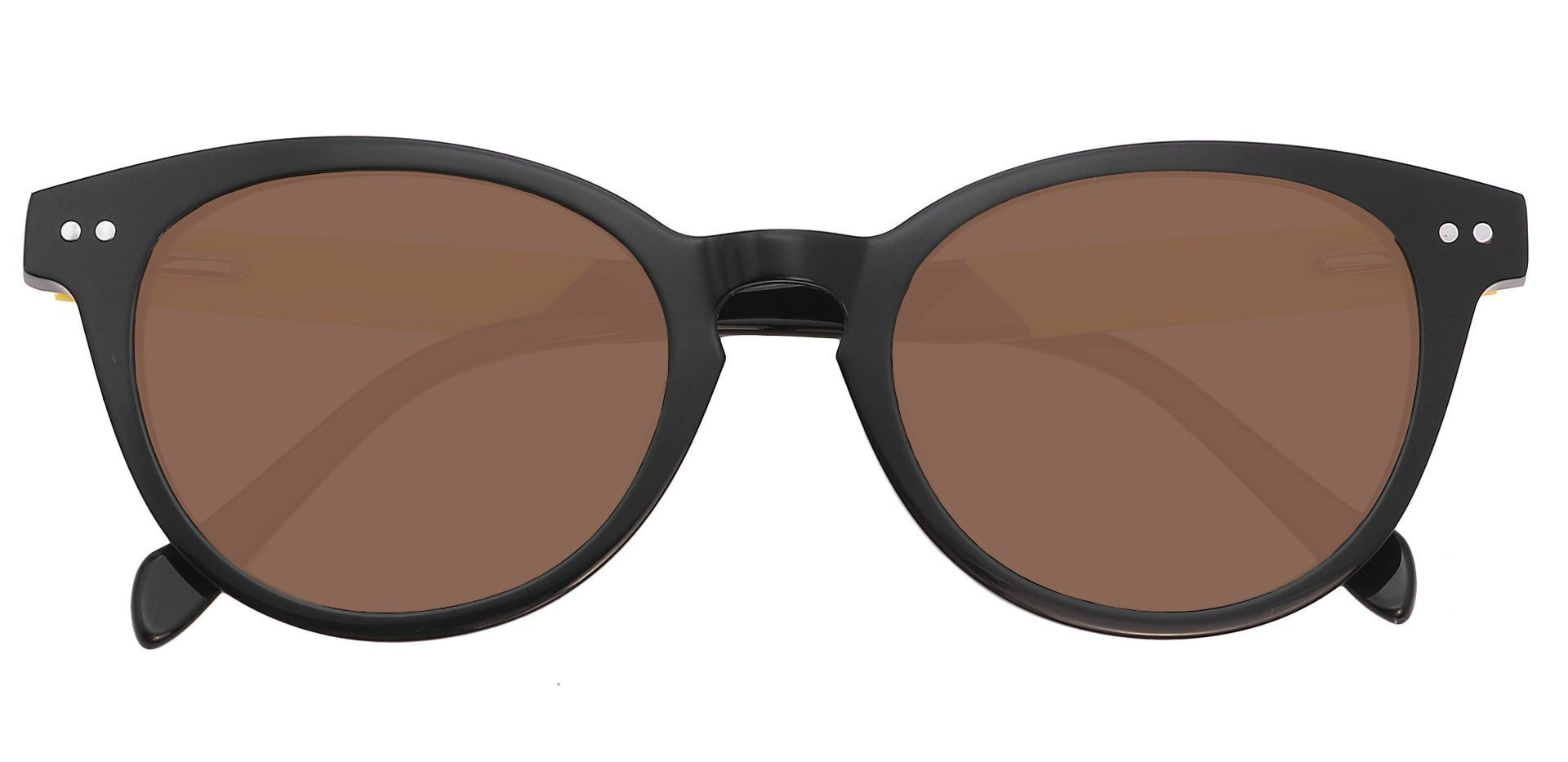 Forbes Oval Prescription Sunglasses - Black Frame With Brown Lenses