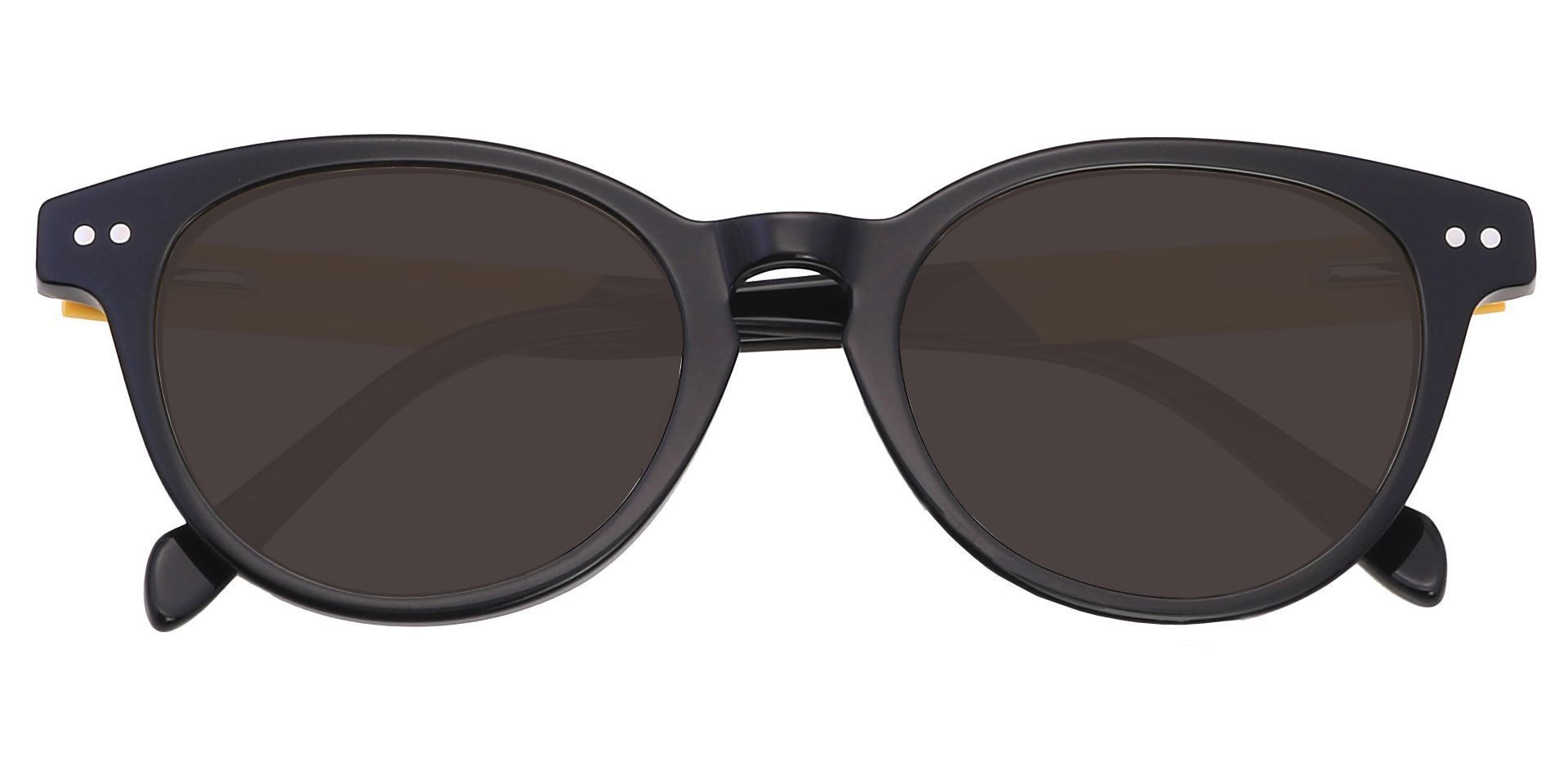 Oakland Oval Prescription Sunglasses - Black Frame With Gray Lenses